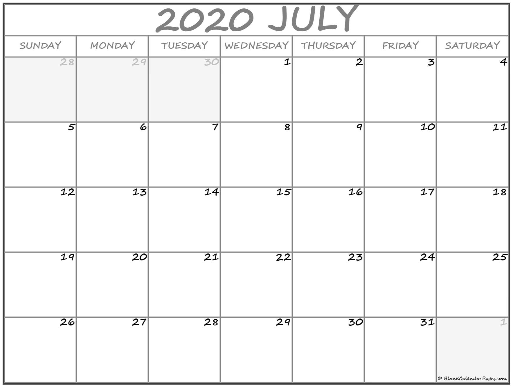 July 2020 Calendar | Free Printable Monthly Calendars intended for Print Free 2020 Calendar Without Downloading Weekly Writing