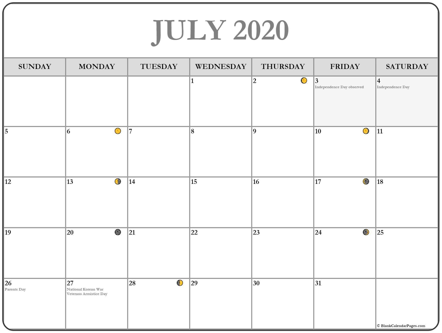 July 2020 Calendar | Free Printable Monthly Calendars | Moon throughout Free Fill In Calendars 2020