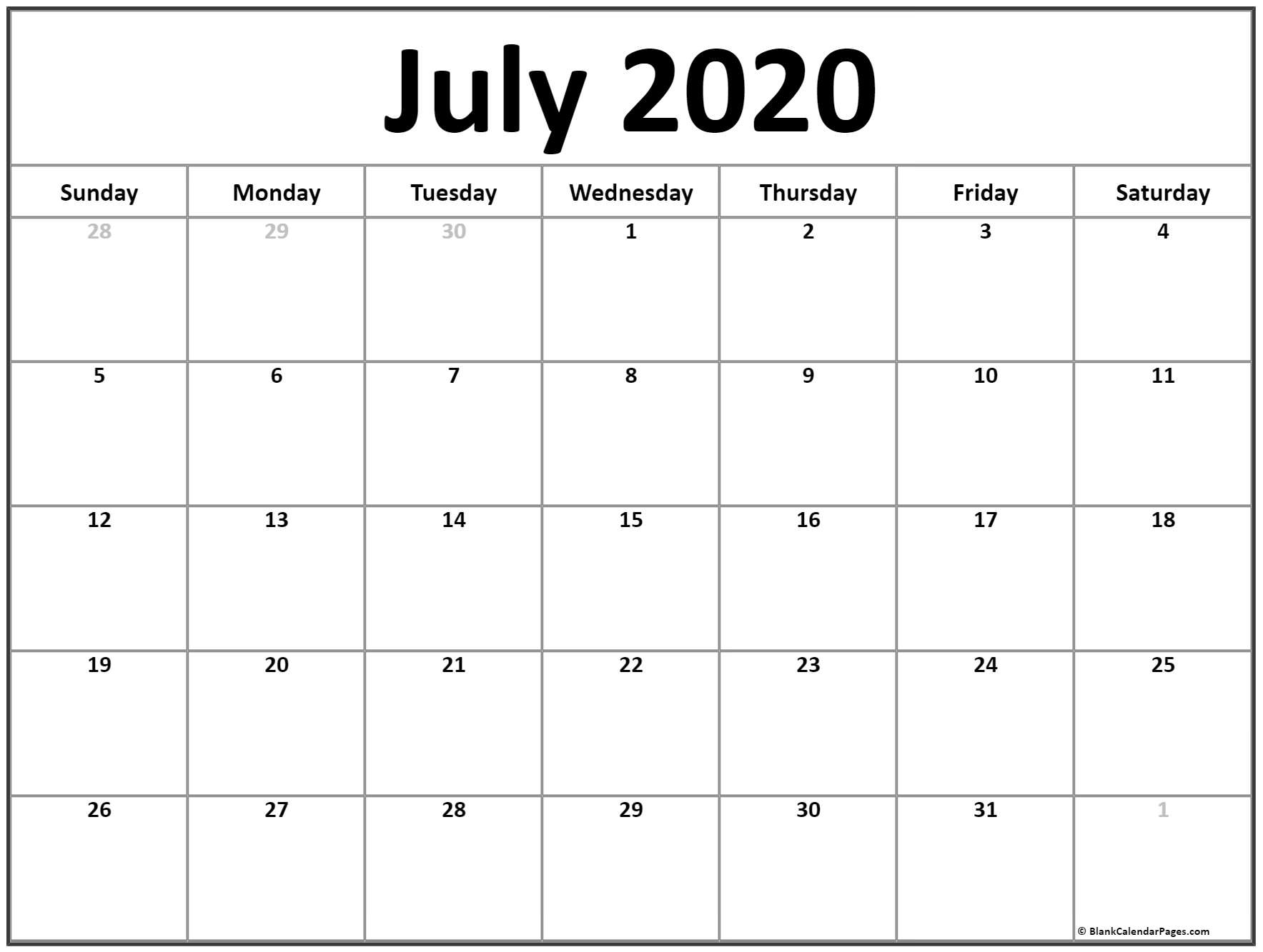 July 2020 Calendar | Free Printable Monthly Calendars throughout Print Free 2020 Calendar Without Downloading Weekly Writing