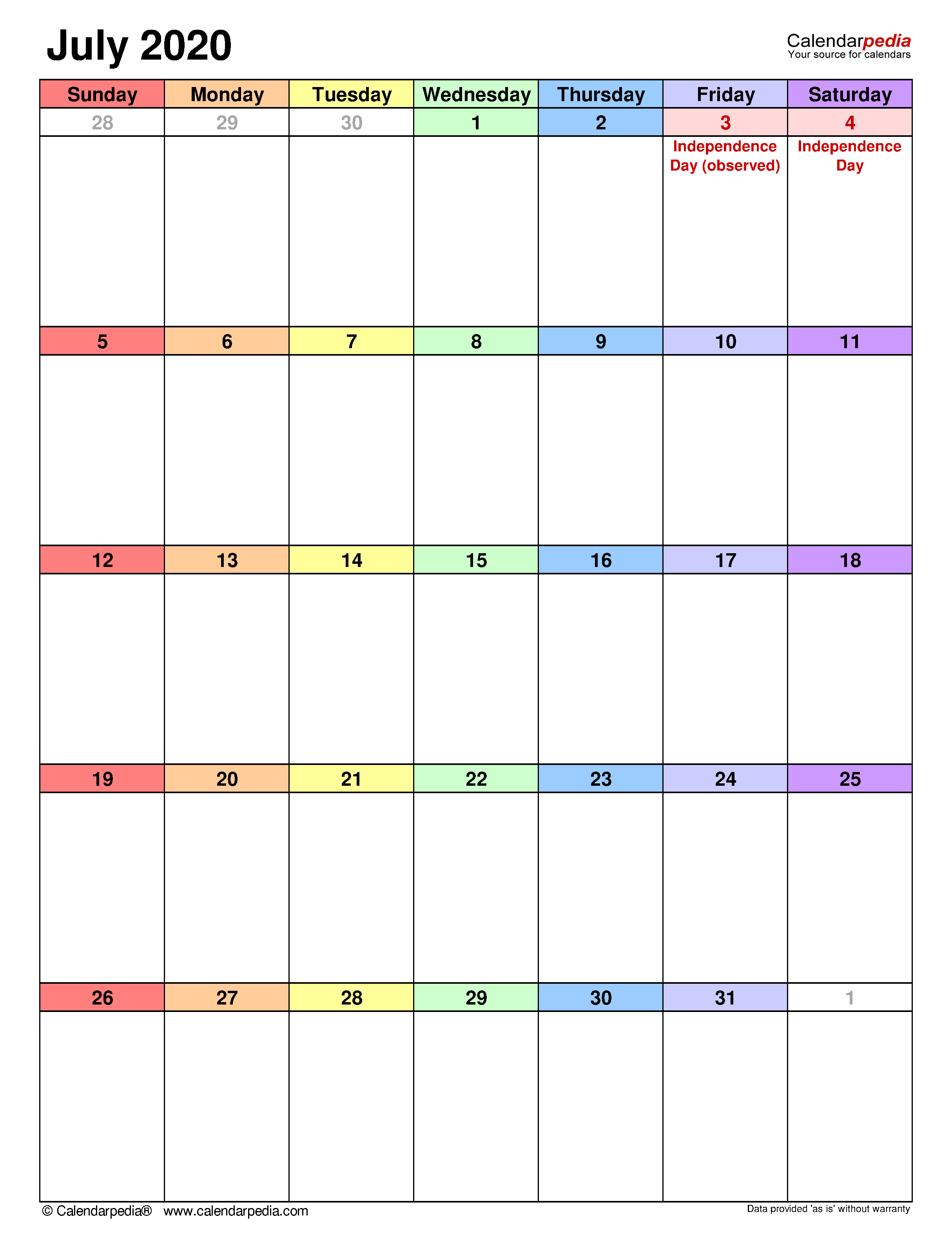 July 2020 - Calendar Templates For Word, Excel And Pdf inside Activity Calendar 2020 To Fill In
