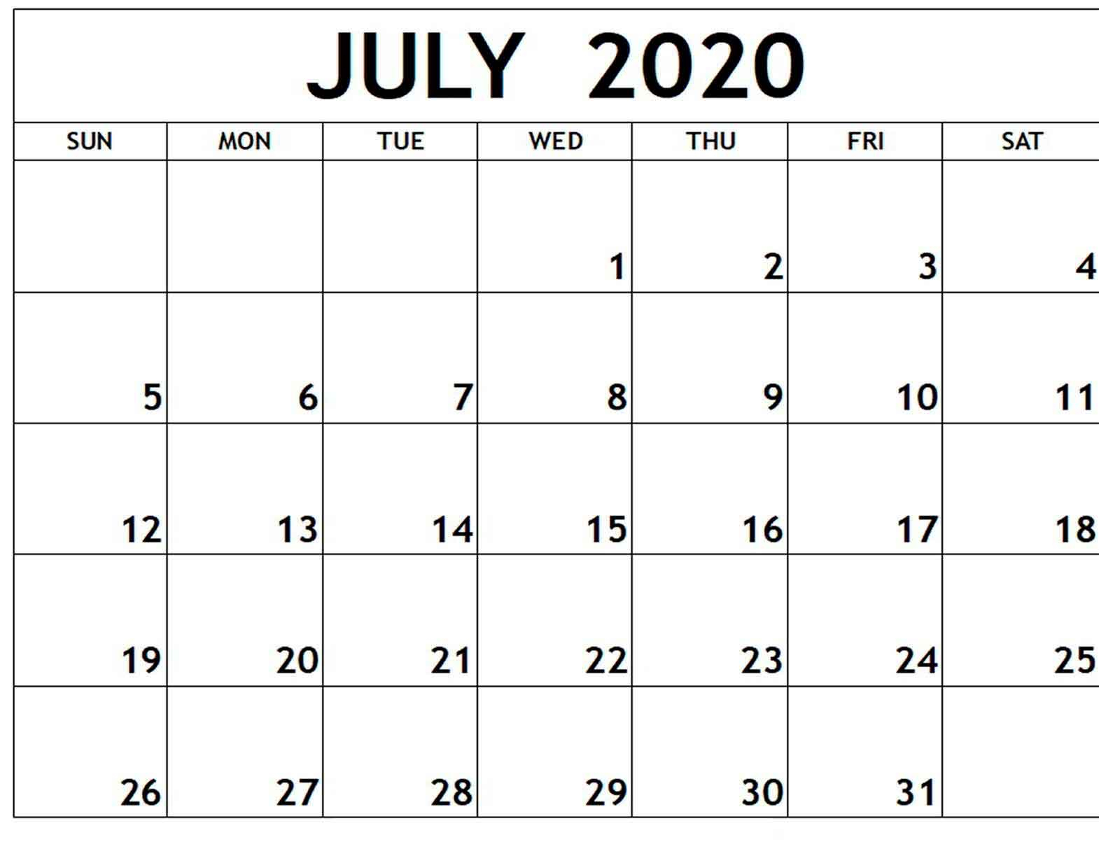 July 2020 Free Printable Calendar Free Latest Calendar pertaining to Free Fill In Calendars 2020