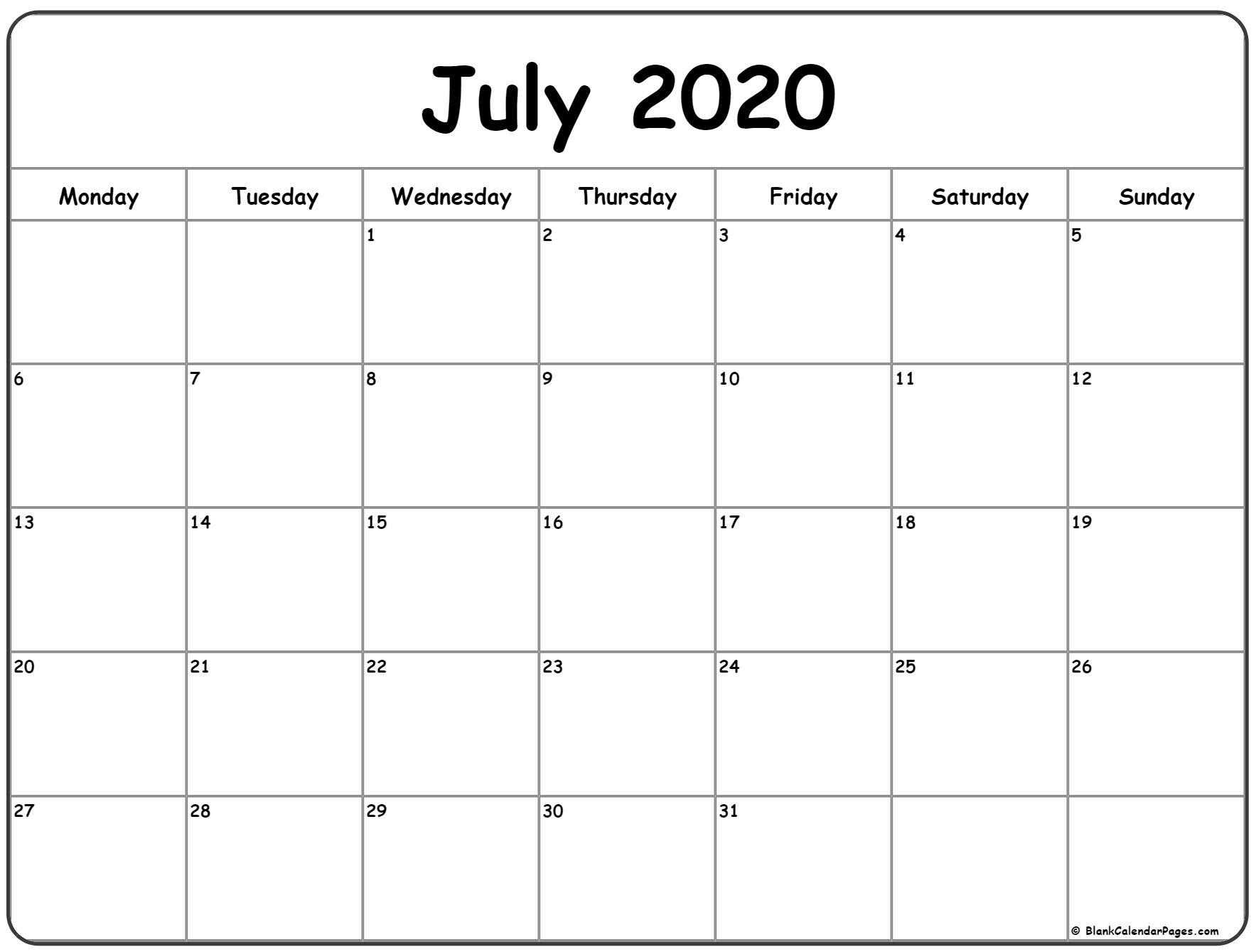 July 2020 Monday Calendar | Monday To Sunday pertaining to Calendar 2020 Sat Thru Sunday