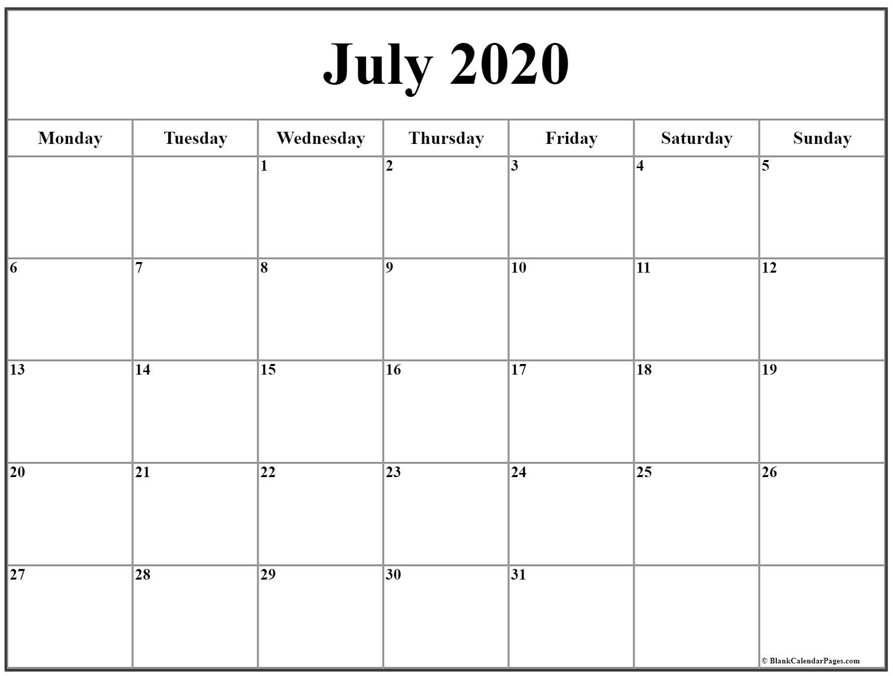 July 2020 Monday Calendar | Monday To Sunday with Sunday Thru Saturday Blank Calendar