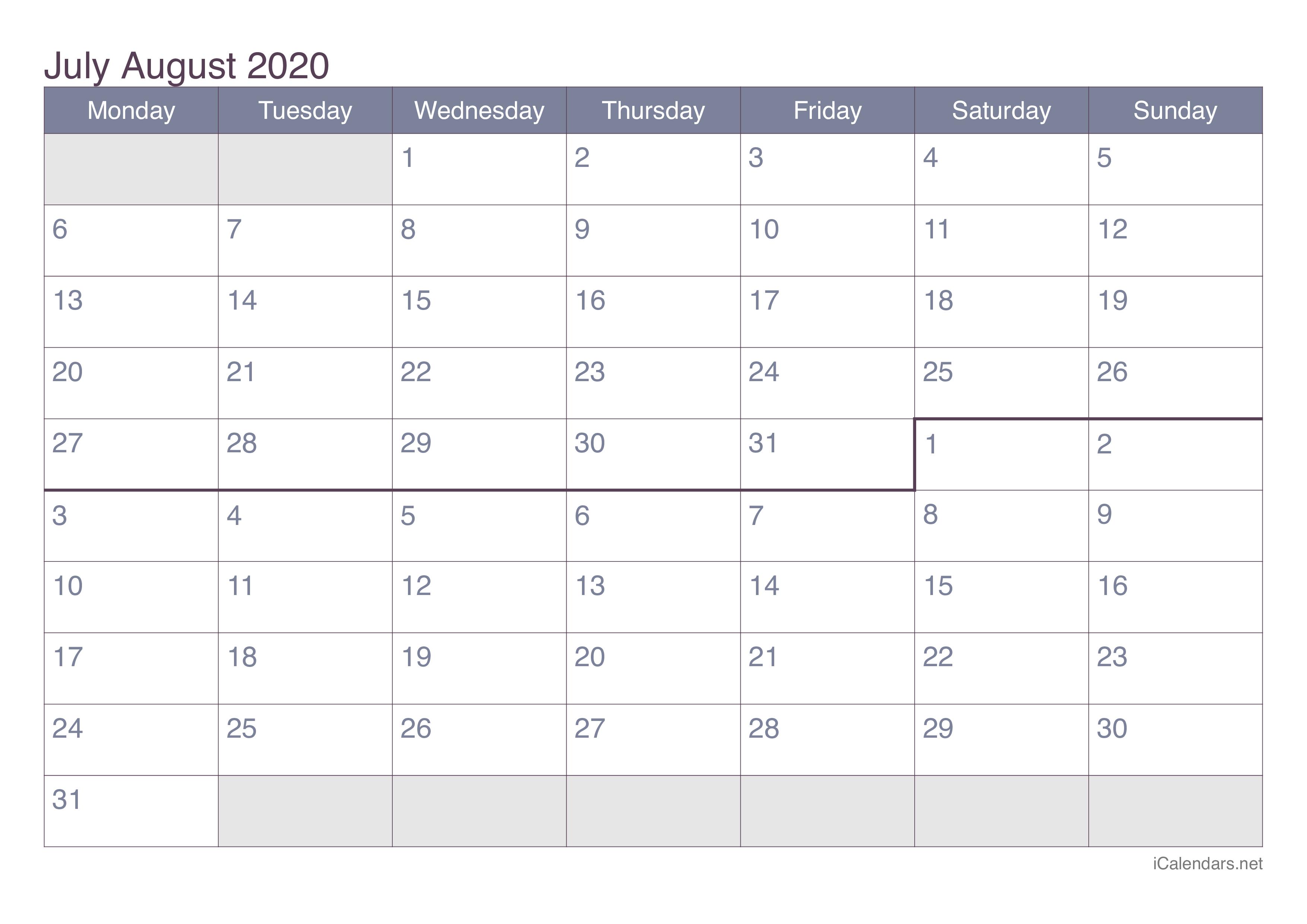 July And August 2020 Printable Calendar - Icalendars in Calendar 2020 Sat Thru Sunday