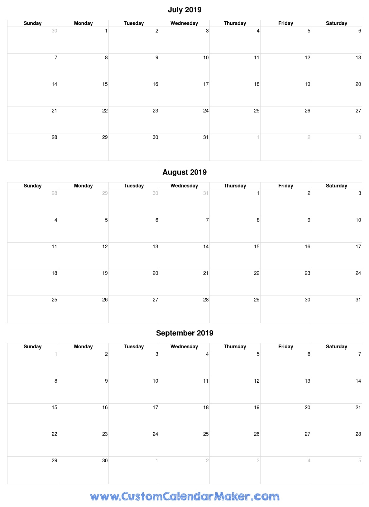 July To September 2019 Calendar - Free Printable Template with September Fill In Calendar 2020