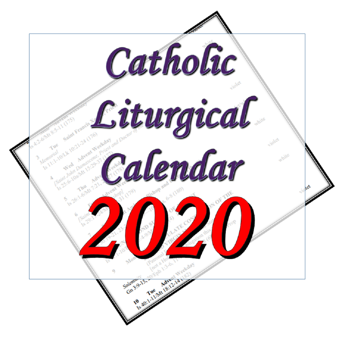 Liturgytools: Catholic Liturgical Calendars For 2020 intended for Printable Monthly Liiturgical Calendar 2020