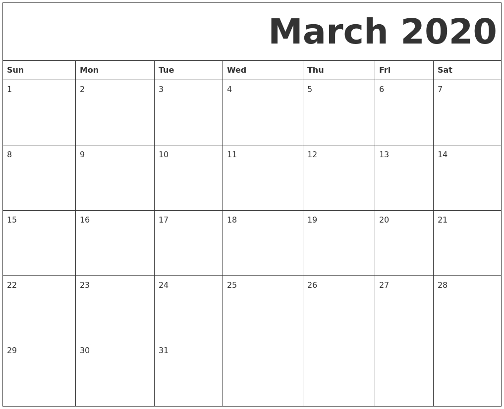 March 2020 Free Printable Calendar for Sunday To Saturday Calendar 2020 Printable