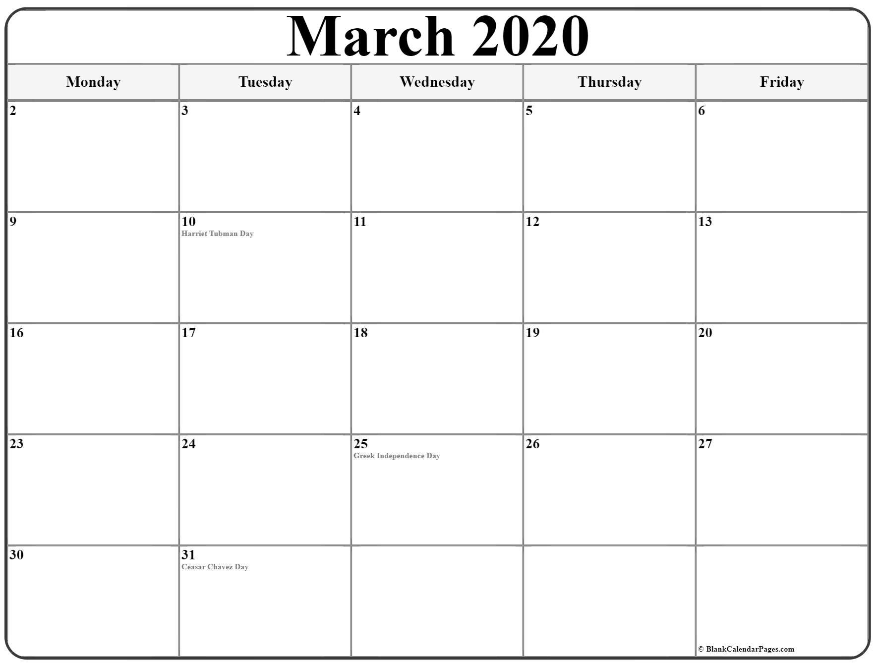 March 2020 Monday Calendar | Monday To Sunday regarding 2020 Calendar That Shows Only Monday Through Friday