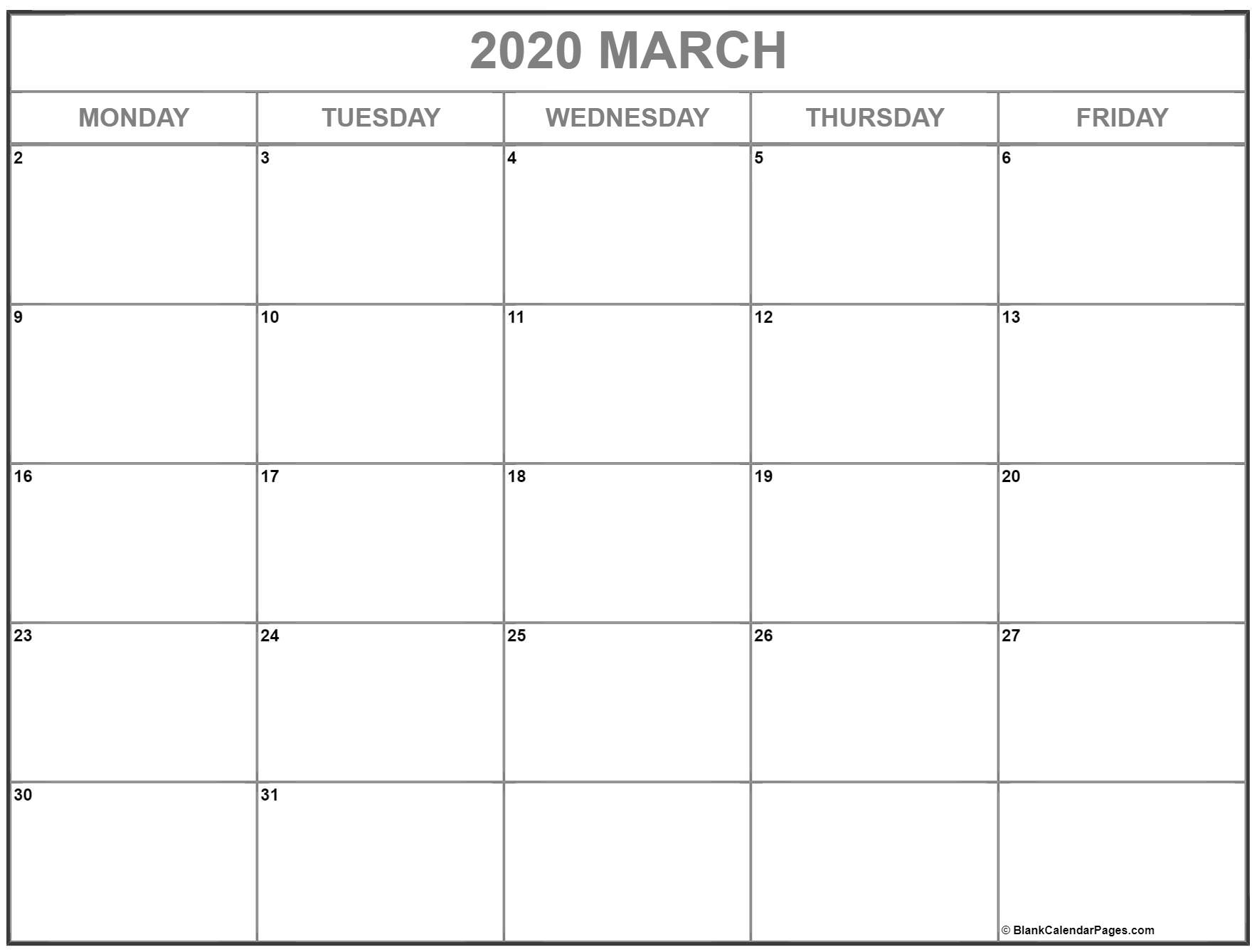 March 2020 Monday Calendar | Monday To Sunday within 2020 Calendar That Shows Only Monday Through Friday