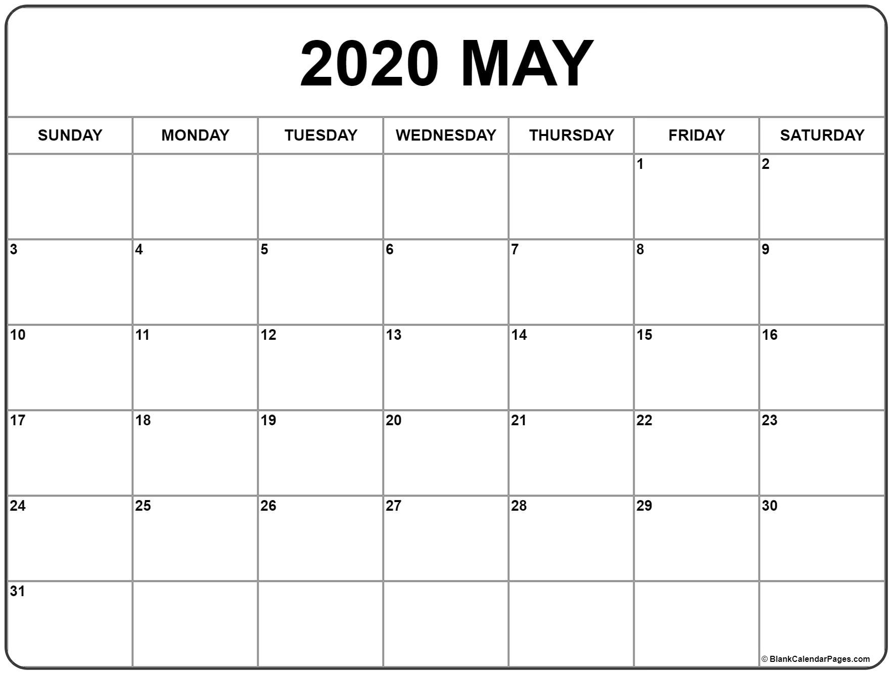 May 2020 Calendar | Free Printable Monthly Calendars inside Free Large Number Printable Calendars