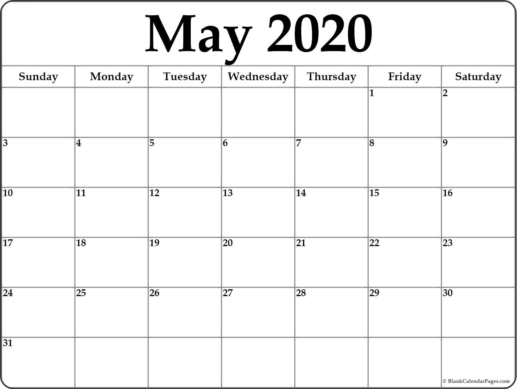 May 2020 Calendar | Free Printable Monthly Calendars throughout Free Blank Printable Monthly Calendar 2020