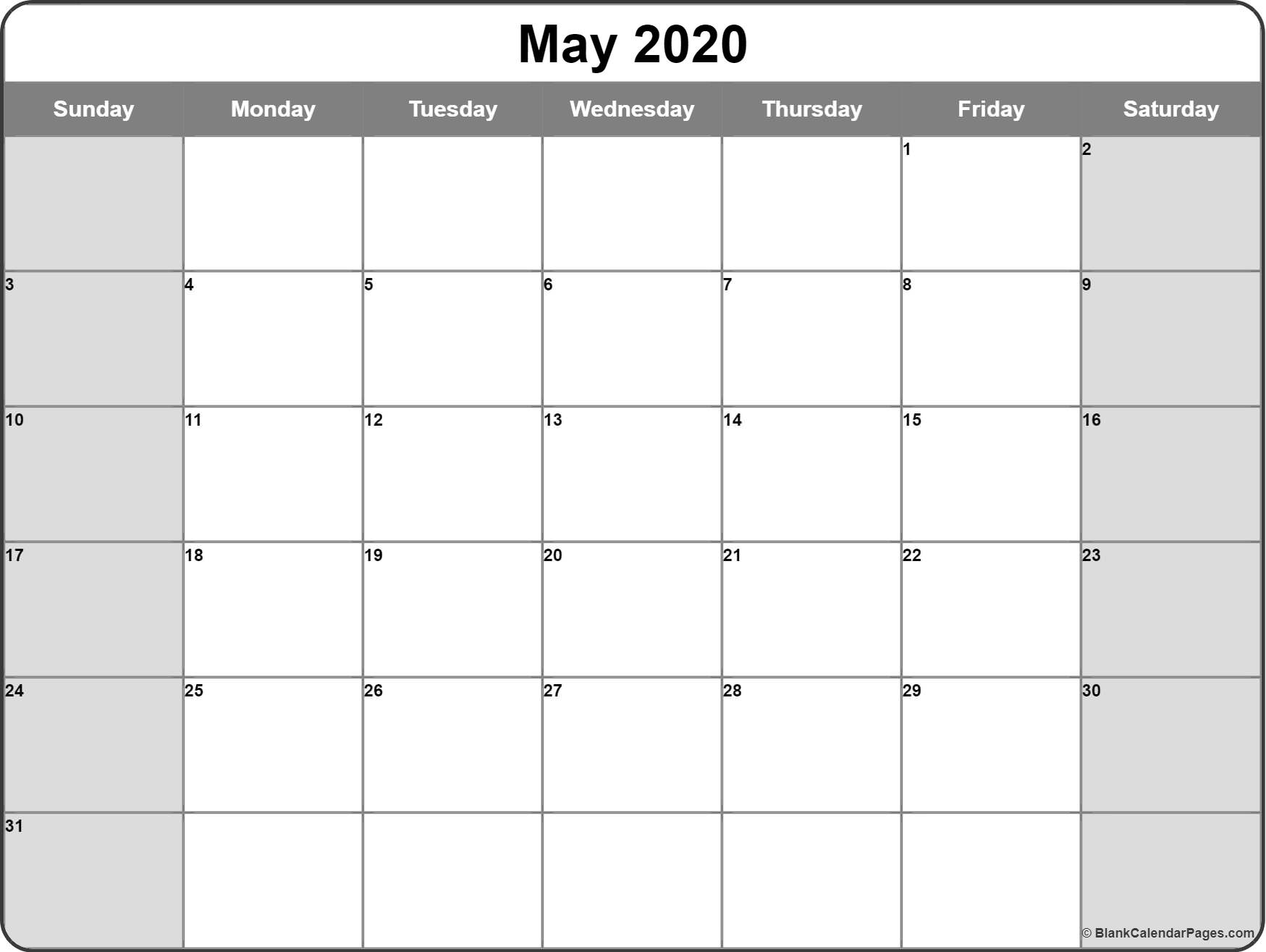 May 2020 Calendar | Free Printable Monthly Calendars throughout Monthly Fill In Calendar 2020