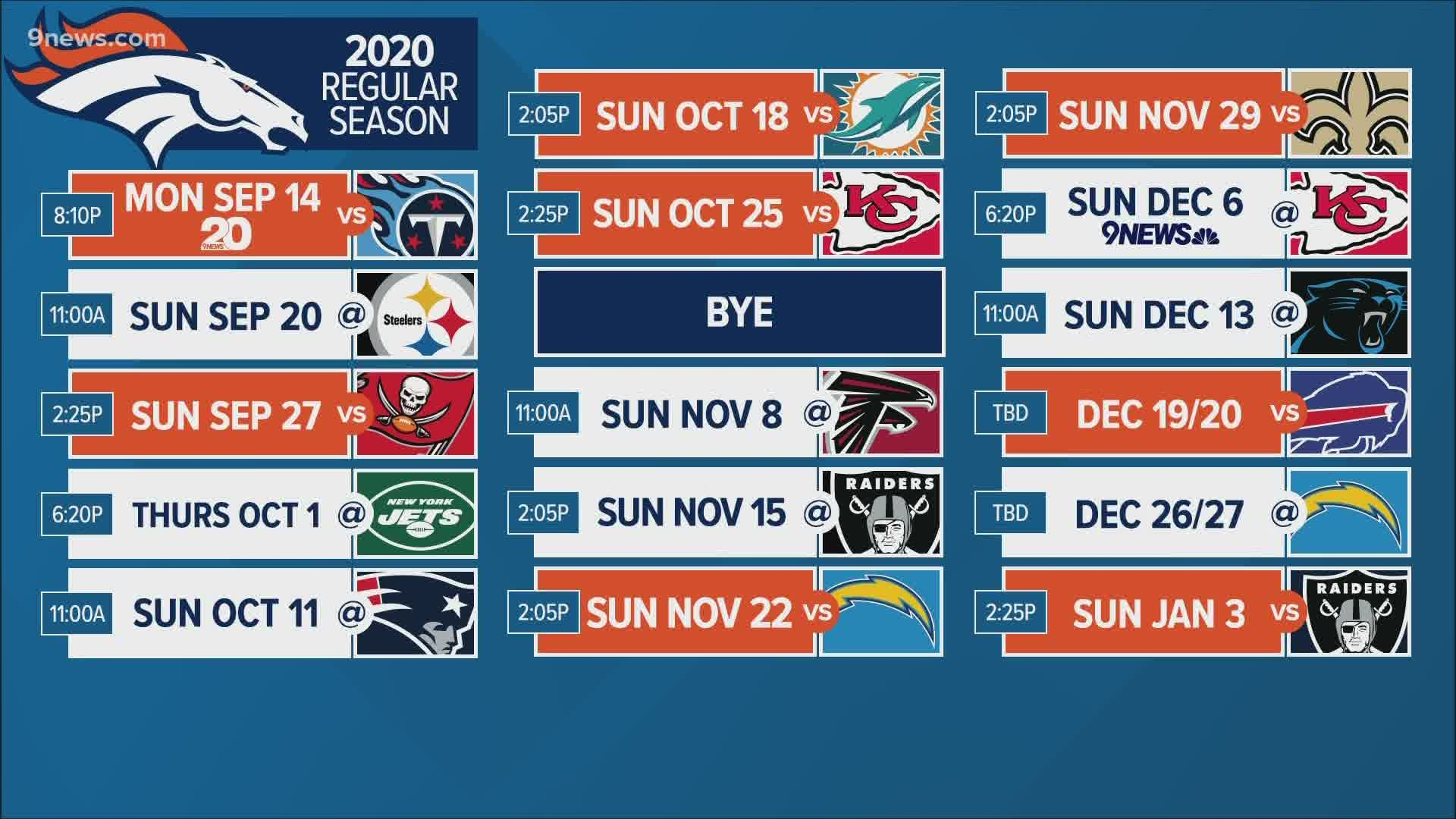 Mike Klis Breaks Down 2020 Broncos Schedule with Printable 2020 Full Nfl Schedule