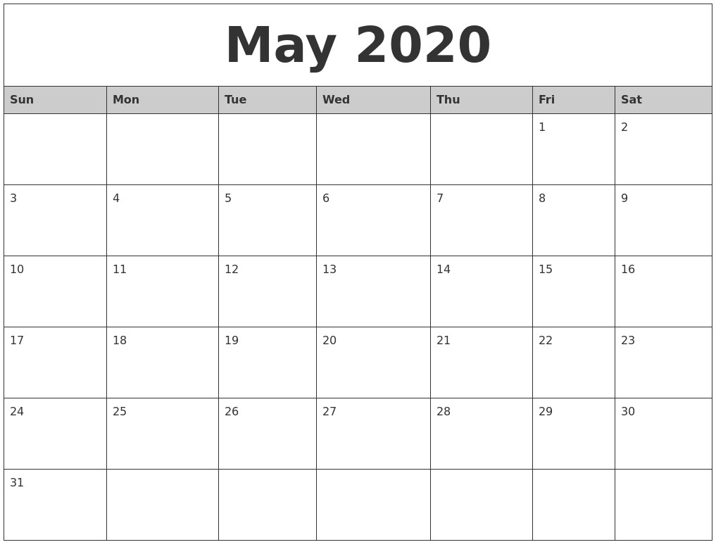 Monthly Calendar 2020 Printable | Free Printable Calendar for Monthly Fill In Calendar 2020