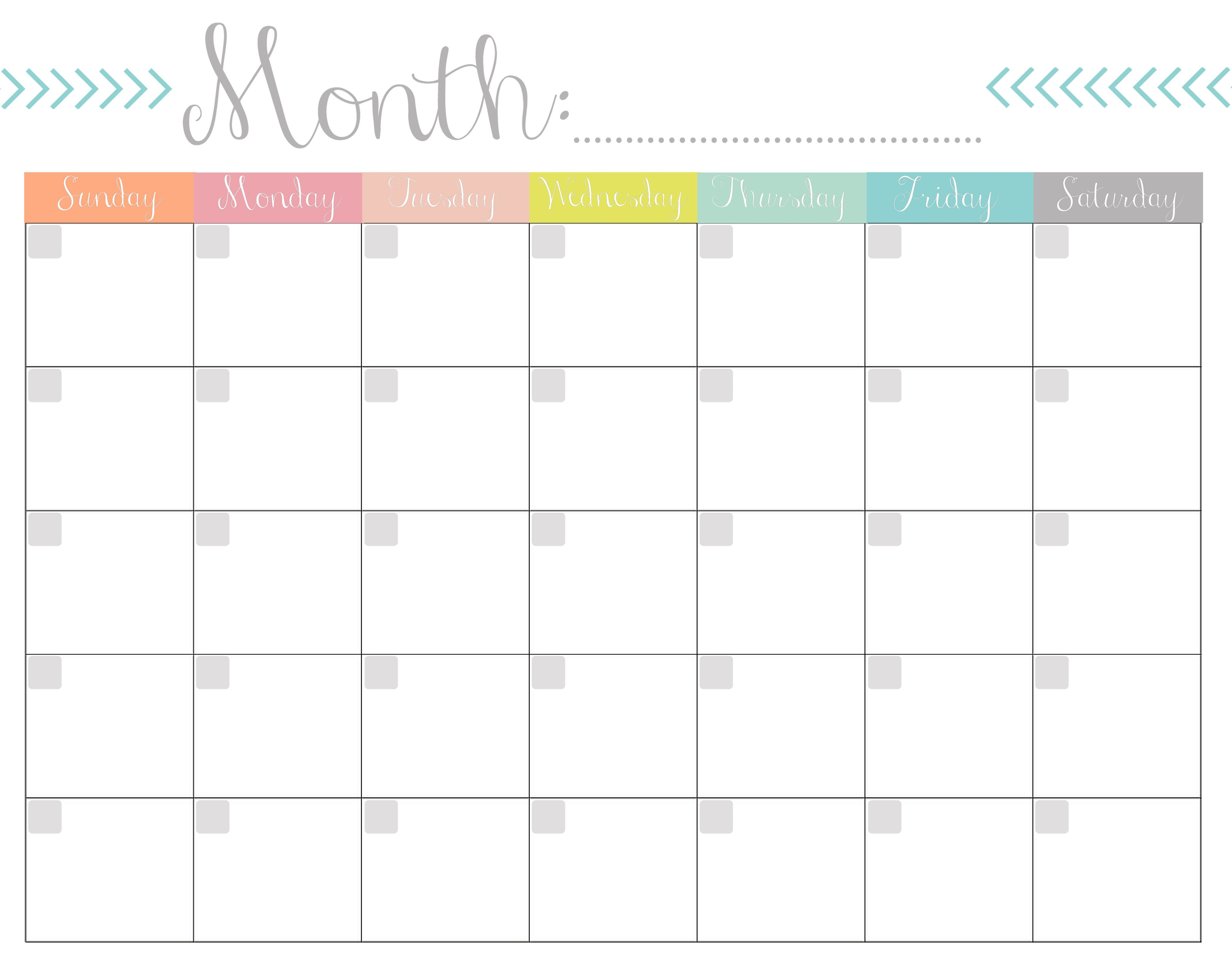Monthly Calendar Free Printable Free Printable Calendar pertaining to Printable Fill In Calendar By Month