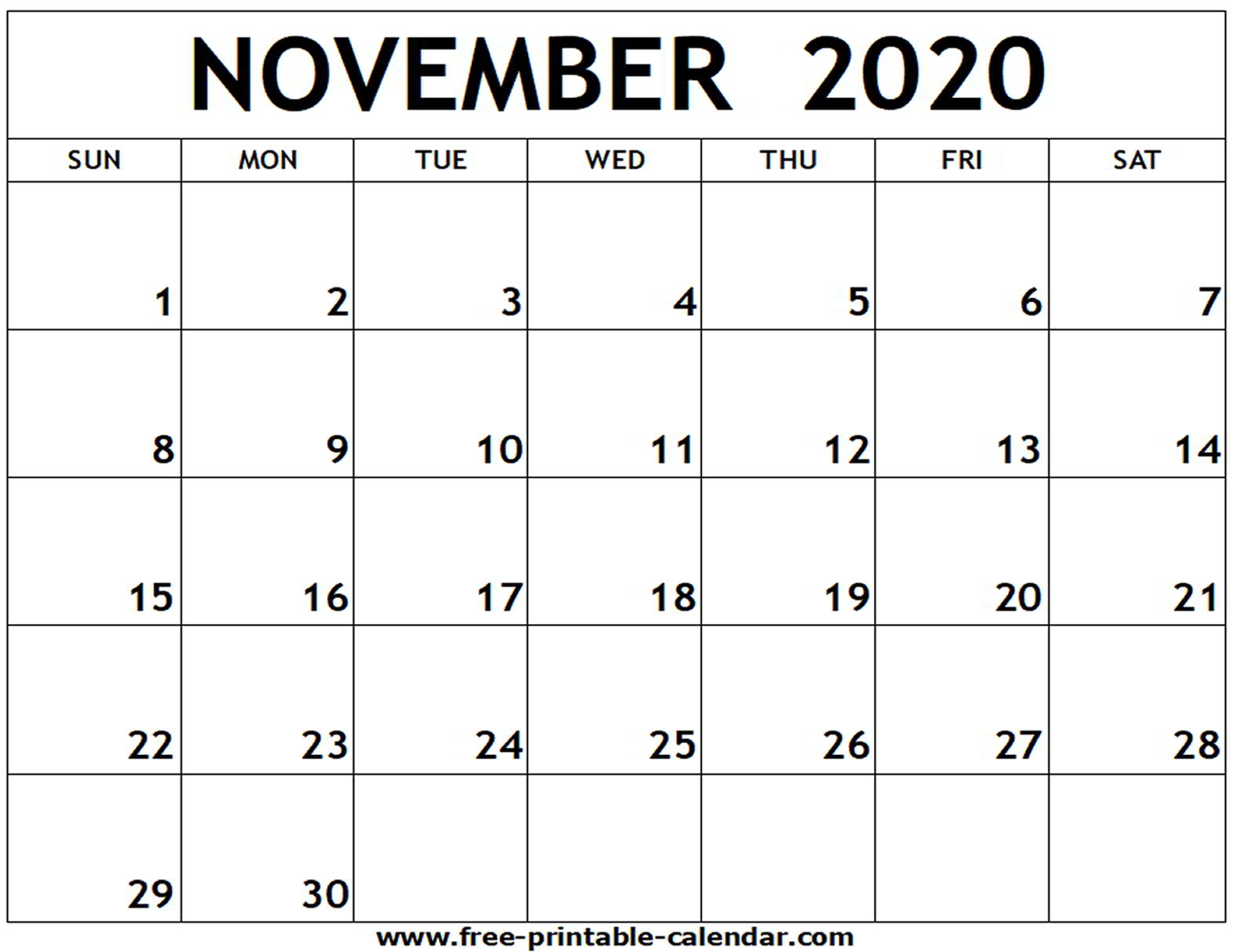November 2020 Printable Calendar - Free-Printable-Calendar within Free Fill In Calendars 2020