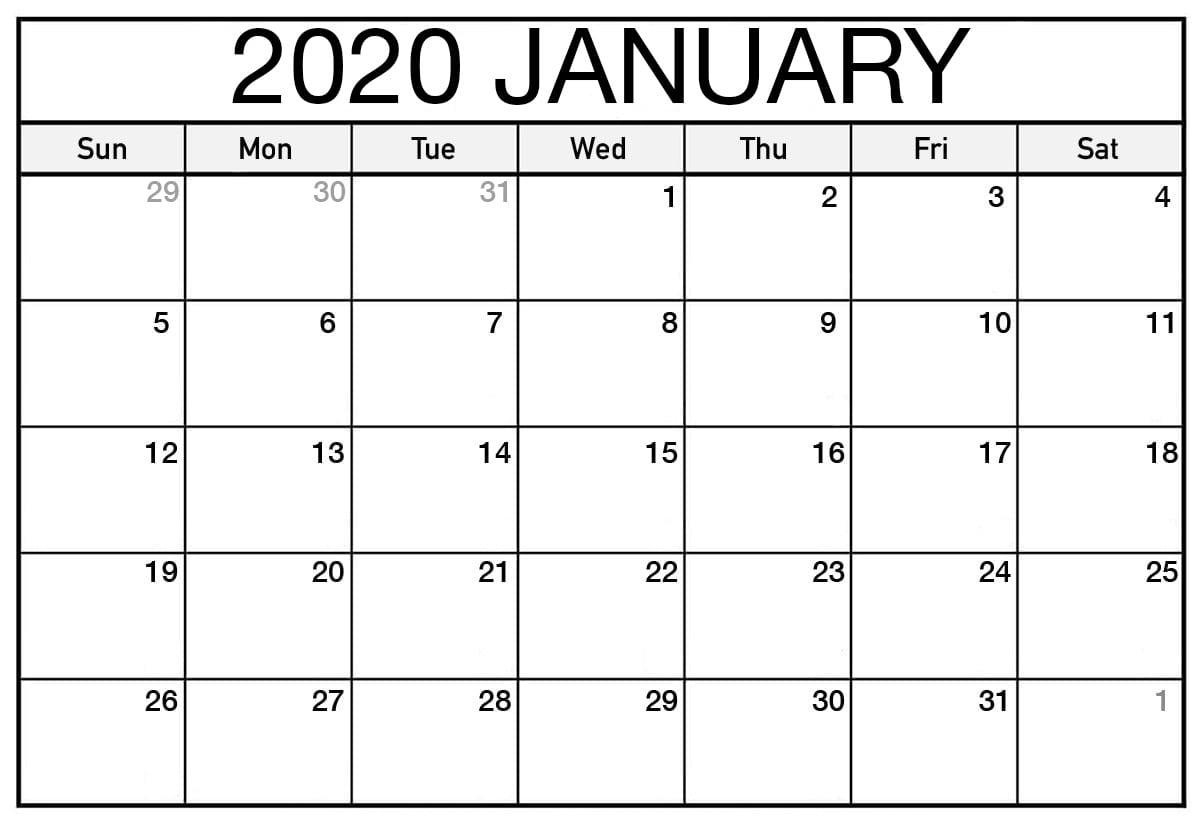 Online Free Printable January 2020 Calendar - 2019 Calendars with Online Free Printable Calendar 2020