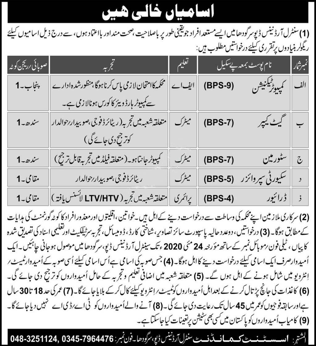 Pakistan Army Central Ordnance Depo Sargodha Jobs 2020 Latest intended for Depo Schedule 2020