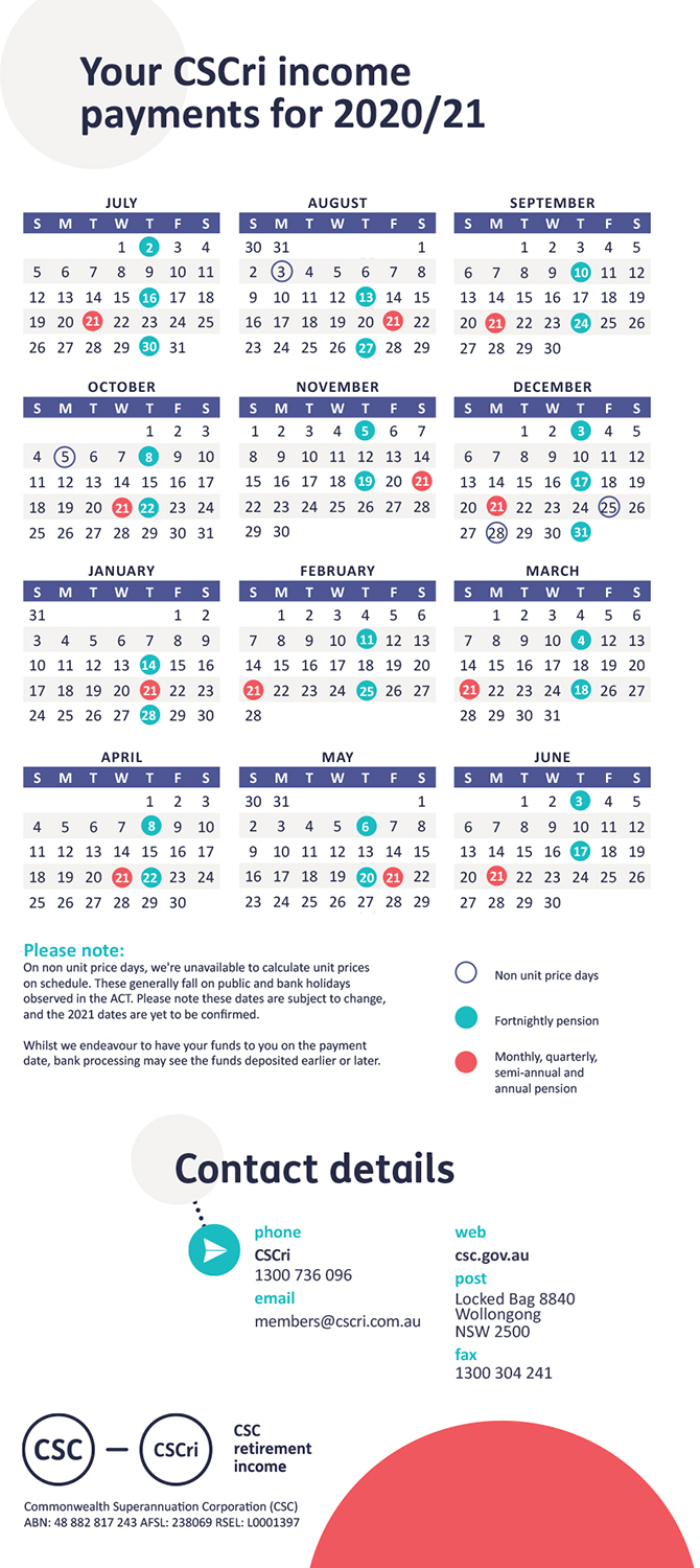 Payday | Pensioner | Retirement | Members - Csc with 2021 Payday Working Days Calendar