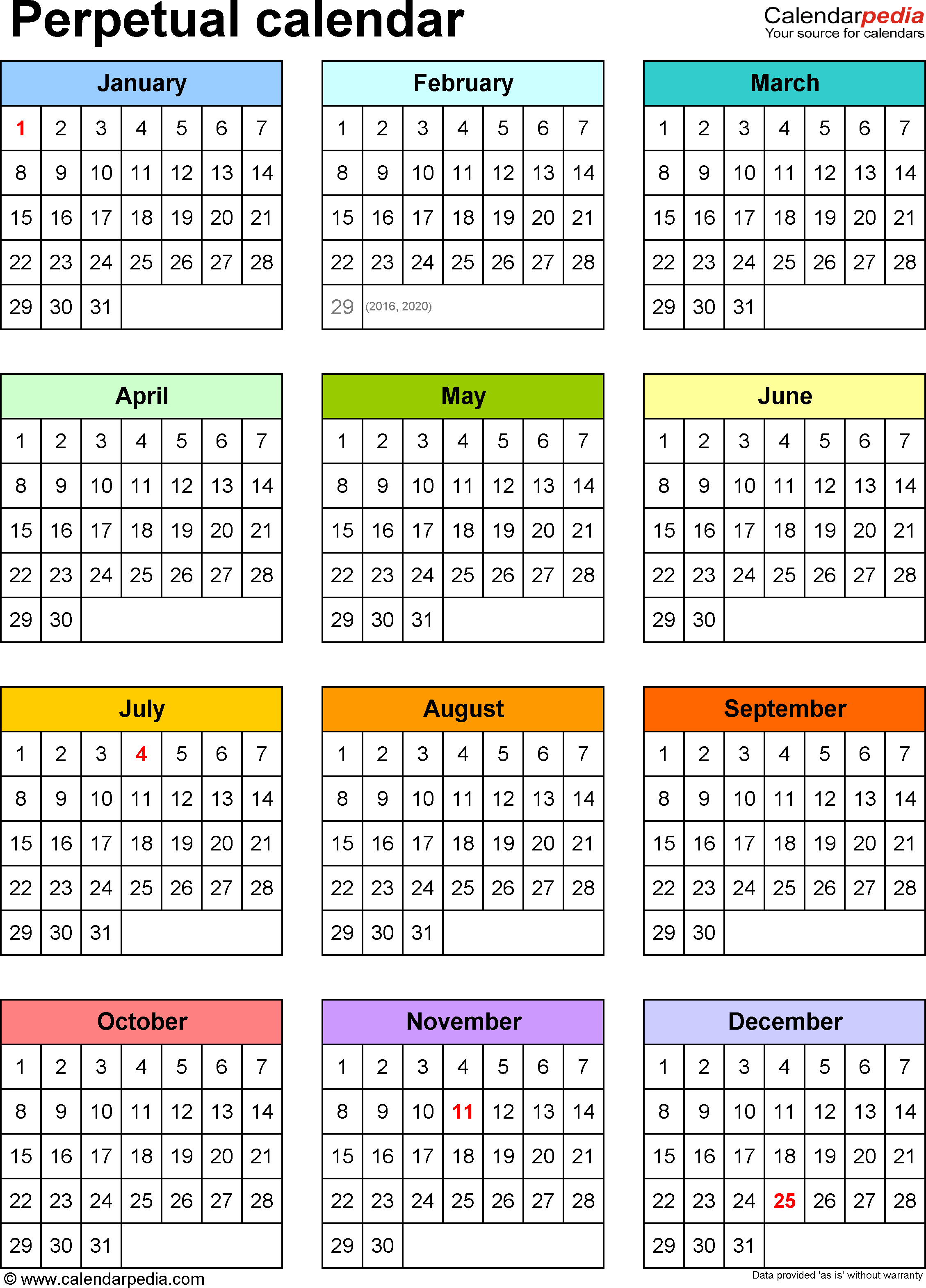 Perpetual Calendars - 7 Free Printable Pdf Templates with Legal Size Printable Monthly Calendar 2020