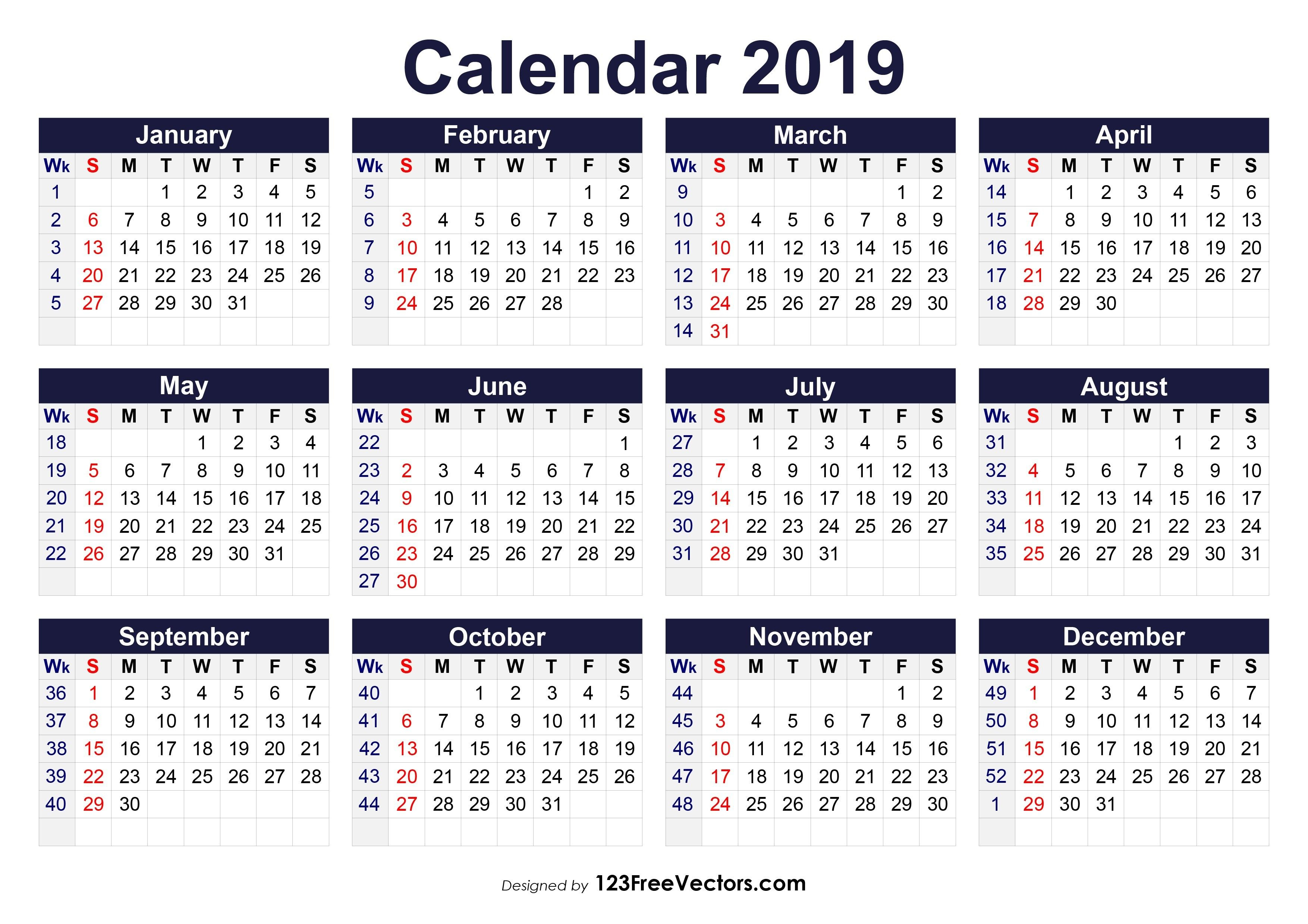 Printable 2019 Calendar With Week Numbers Free Download 2019 within Yearly Week Number Calendar Excel