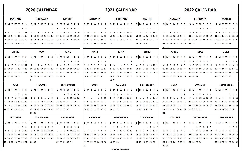 Printable 2020 2021 2022 Calendar Template | 3-Year Editable in 3 Year Calendar 2020