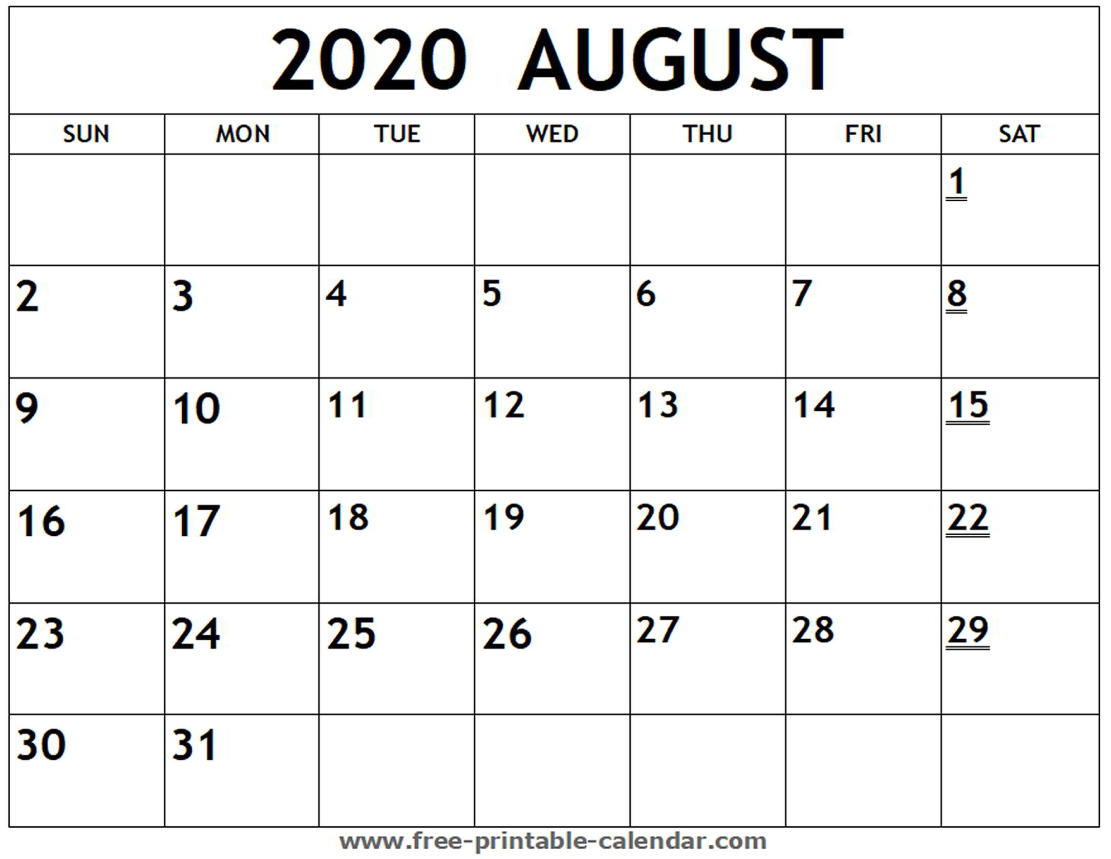 Printable 2020 August Calendar - Free-Printable-Calendar with regard to Free Fill In Calendars 2020