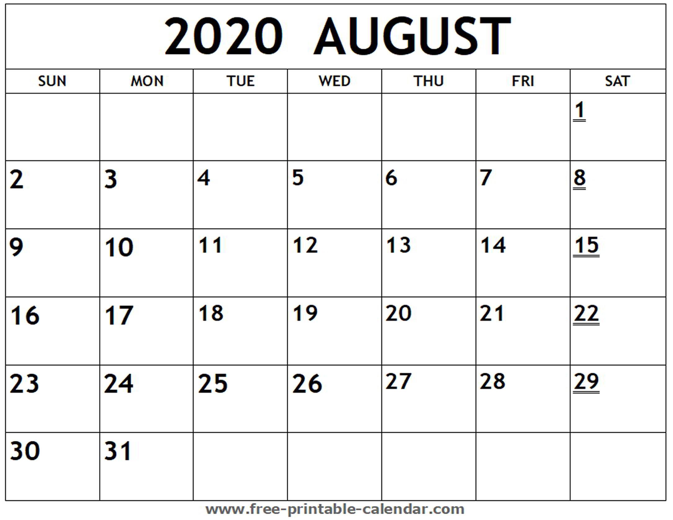 Printable 2020 August Calendar - Free-Printable-Calendar with regard to Free Fill In Calendars 2020