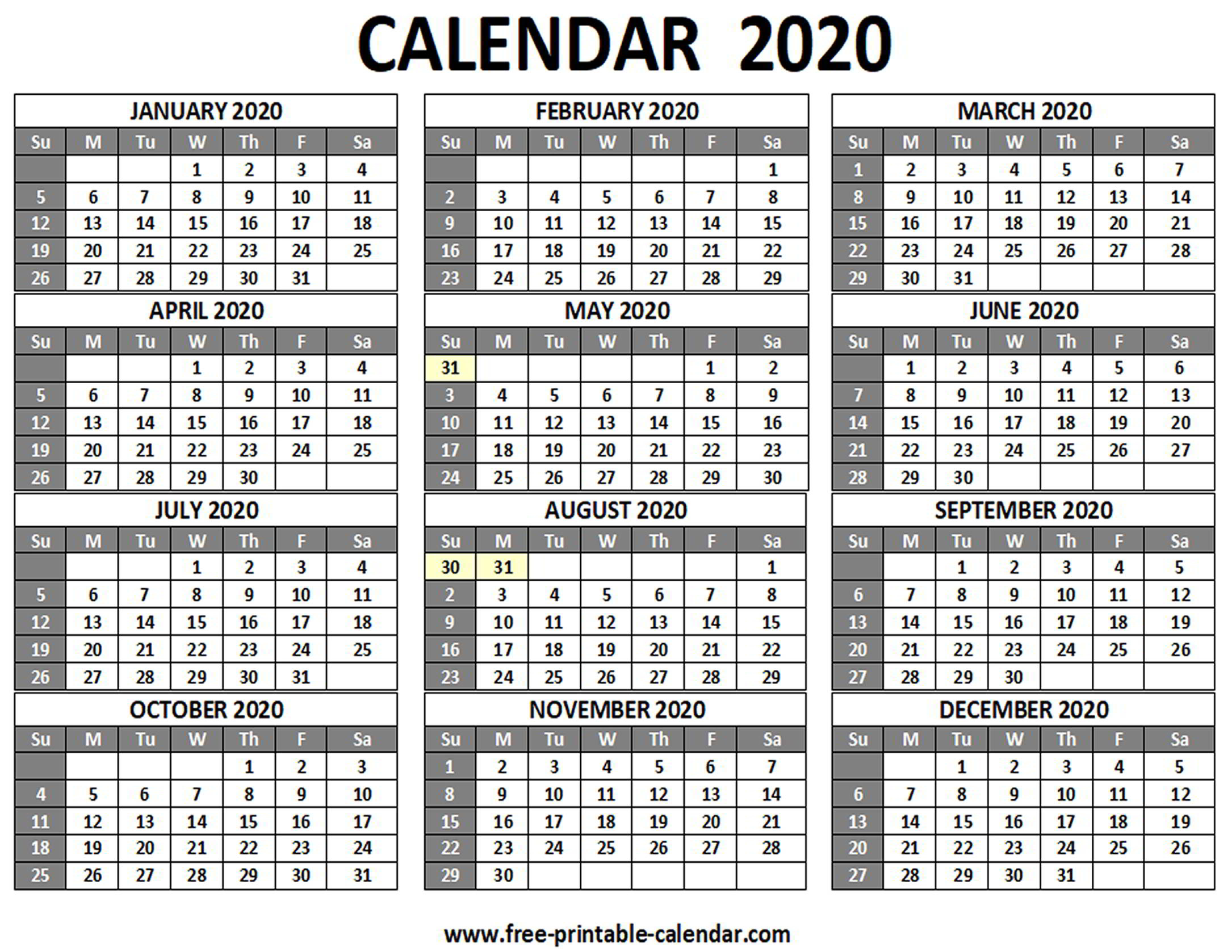 Printable 2020 Calendar - Free-Printable-Calendar throughout Sunday To Saturday Calendar 2020 Printable