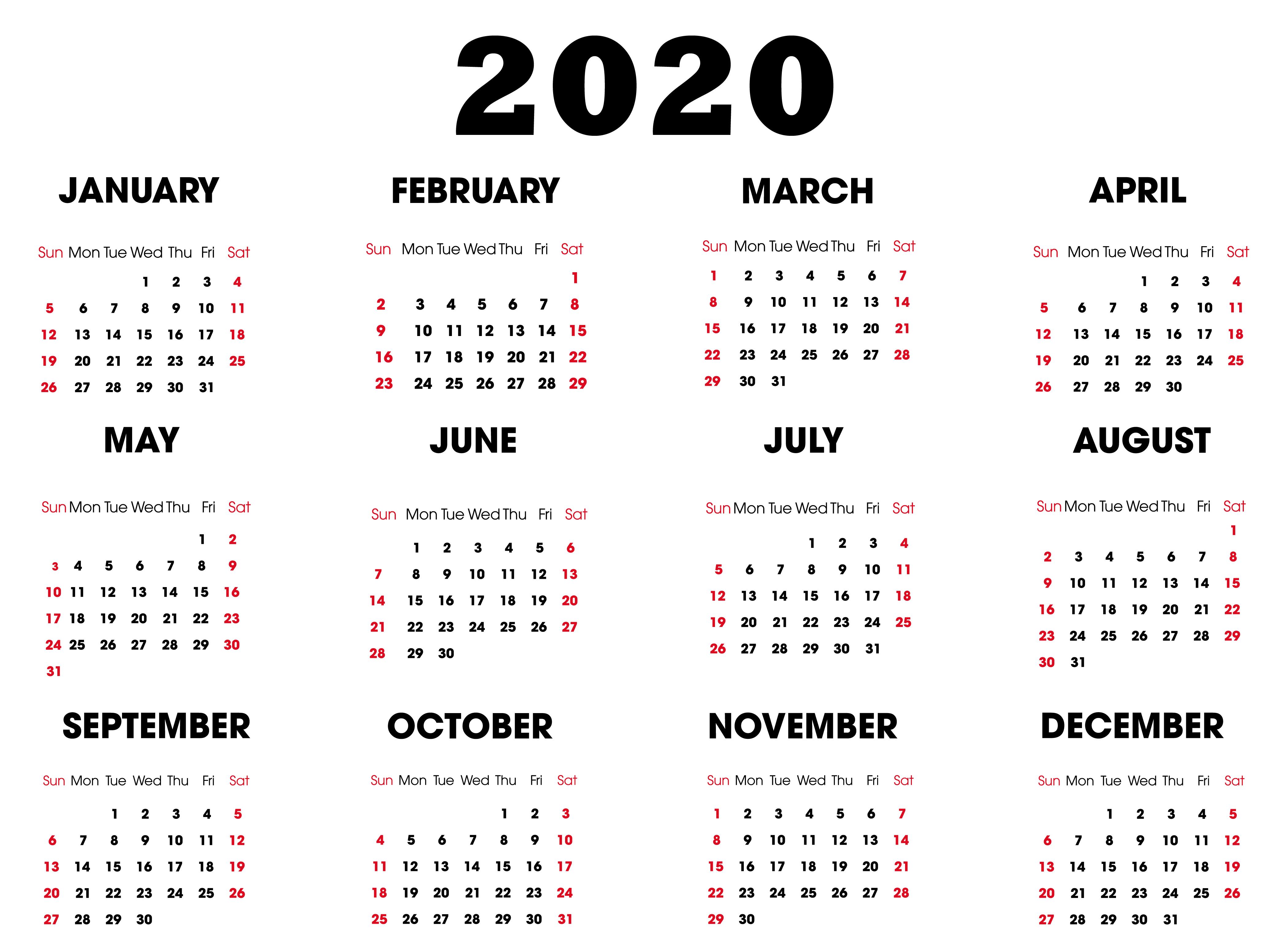 Printable 2020 Calendar Online | Free Printable Calendar regarding Online Free Printable Calendar 2020