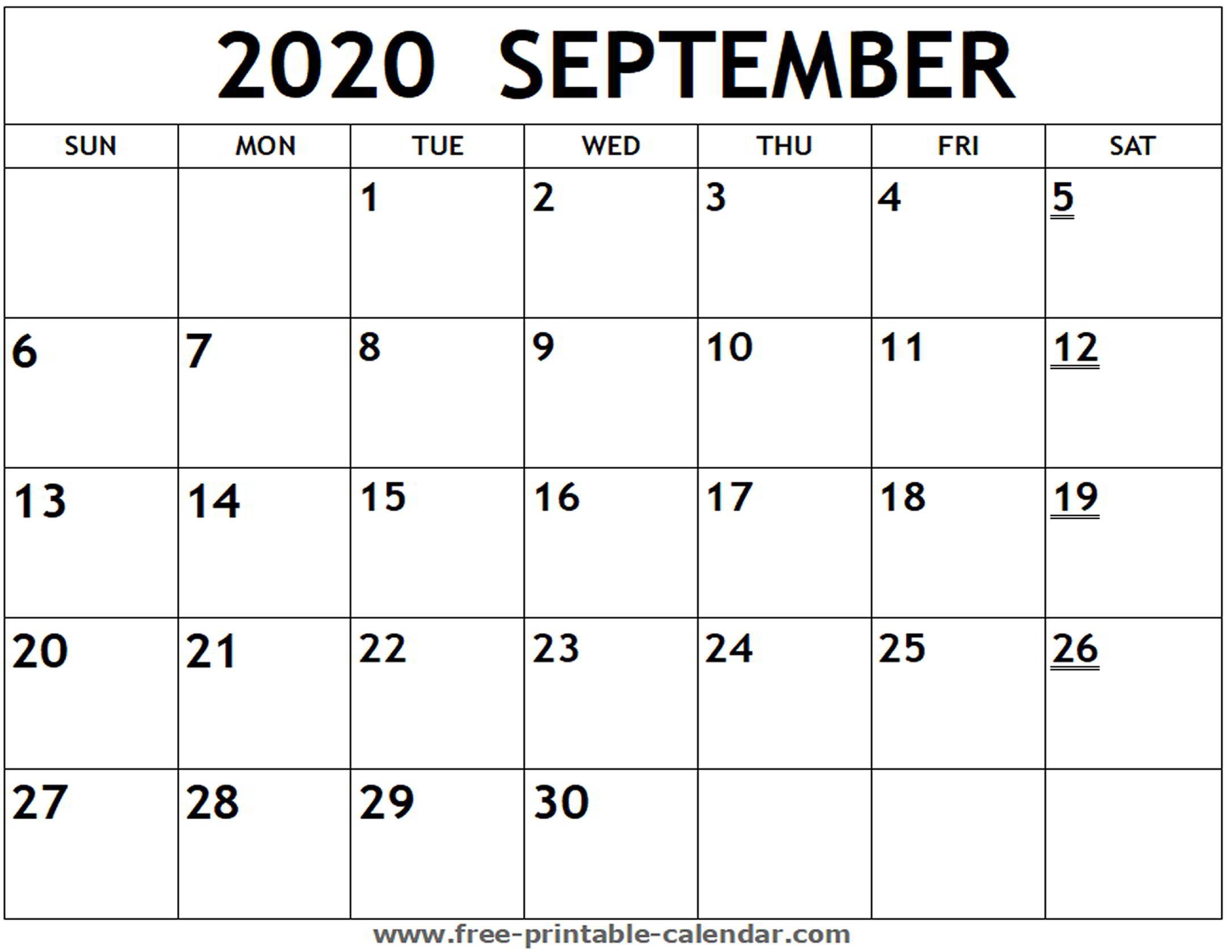 Printable 2020 September Calendar - Free-Printable-Calendar for September Fill In Calendar 2020