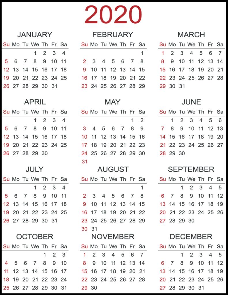 Printable 2020 Yearly Calendar | Printable Calendar Templates in Printable Yearly Calendar With Boxes