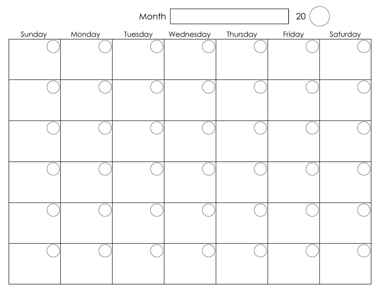 Printable Blank Monthly Calendar | Calendar Printables inside Blank Monthly Calendar Template To Fill In