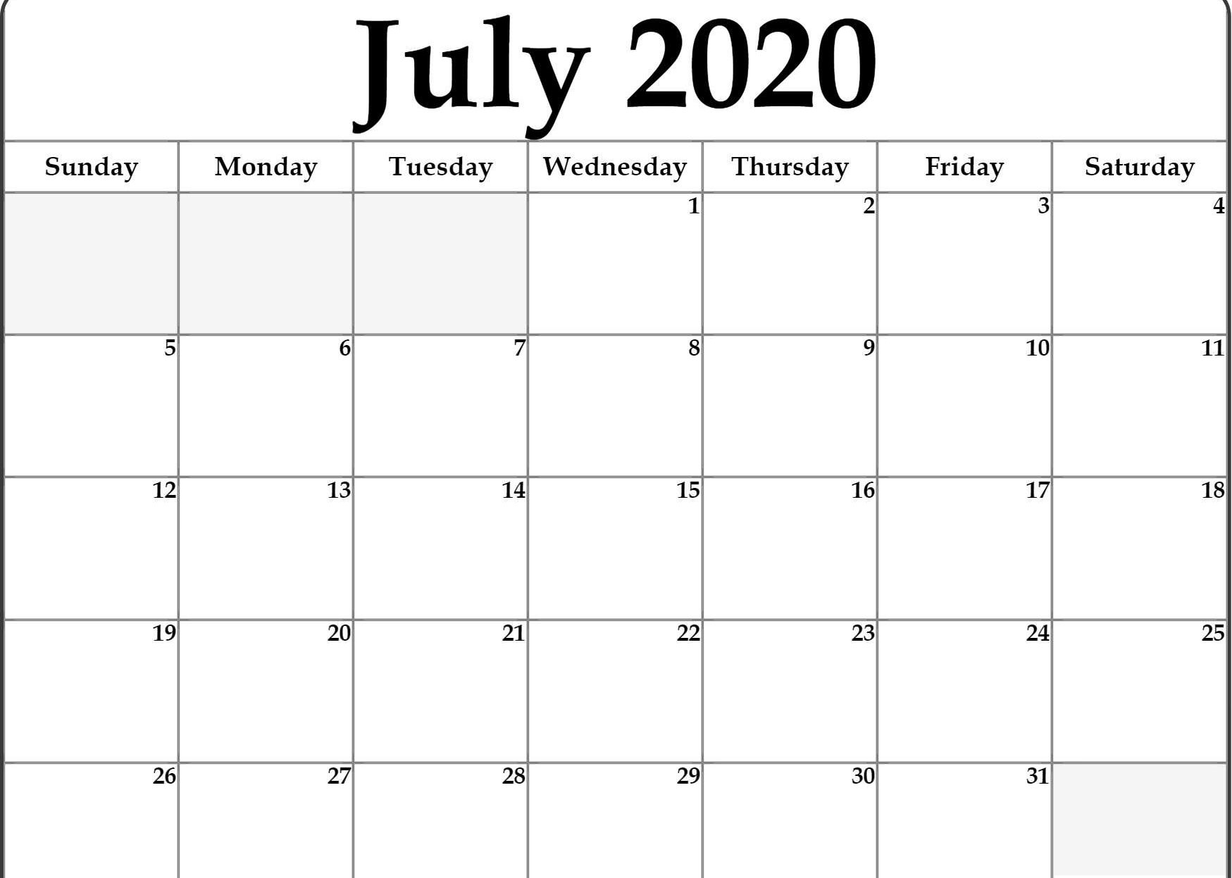 Printable Calendar For July 2020 | July Calendar, Printable pertaining to Monthly Fill In Calendar 2020