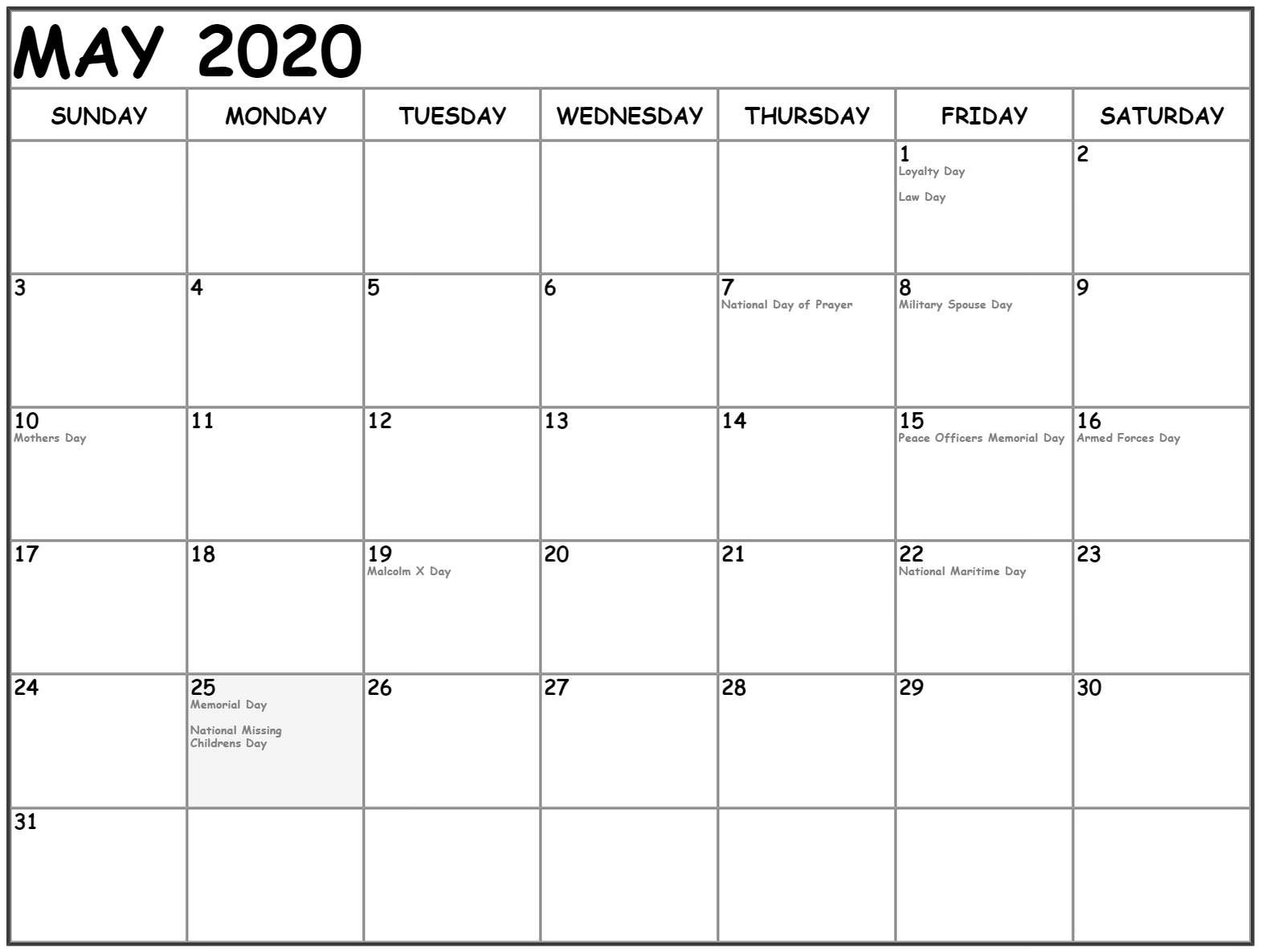 Printable Calendar May 2020 Monthly Blank Template - Free with regard to Legal Size Printable Monthly Calendar 2020