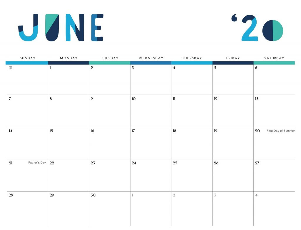 Printable June 2020 Calendar Excel Pdf Template - Web Galaxy for 2020 Calendar To Fill In