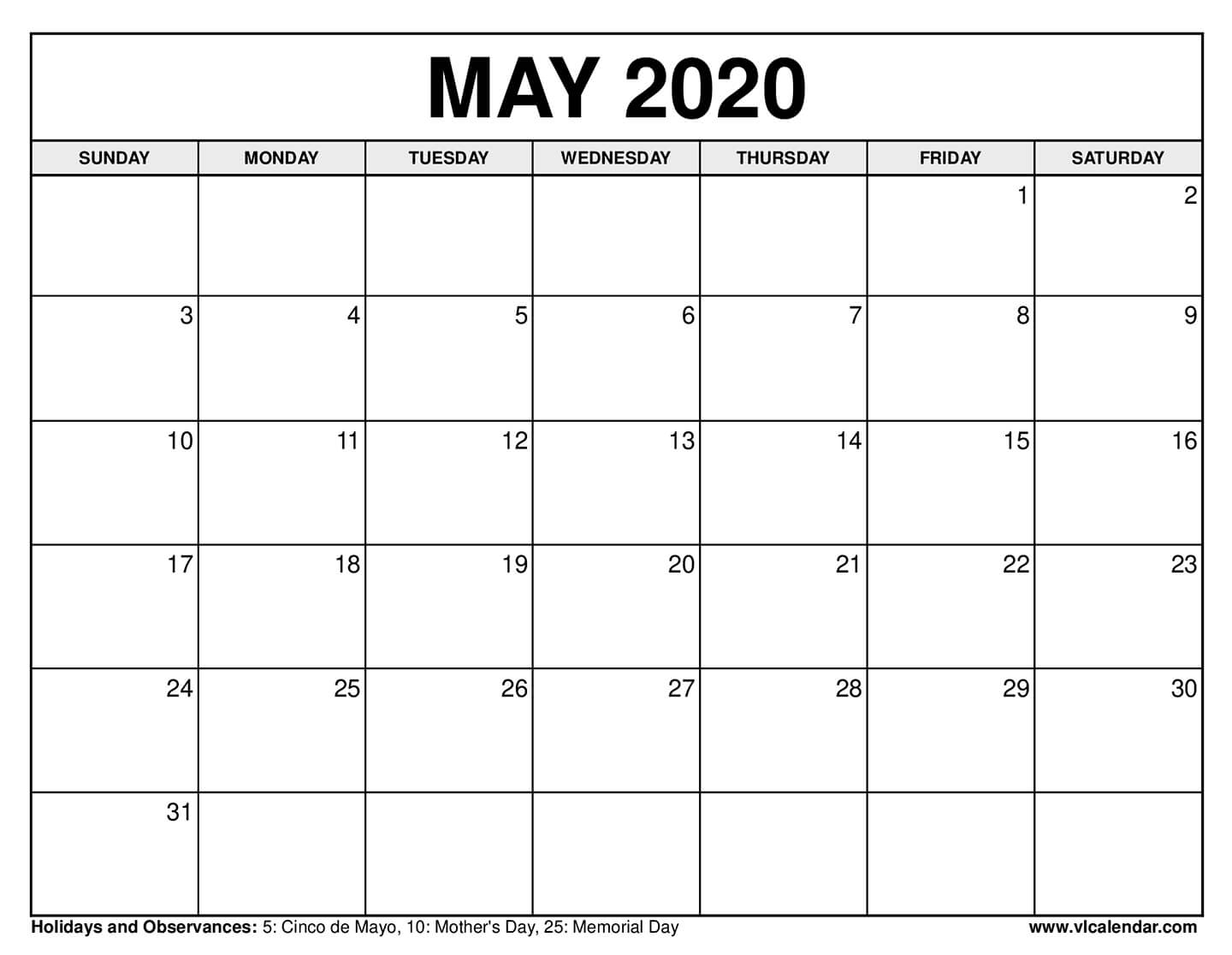 Printable May 2020 Calendars throughout Free Fill In Calendars 2020