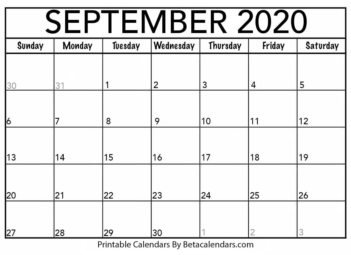 Printable September 2020 Calendar - Beta Calendars with regard to September Fill In Calendar 2020