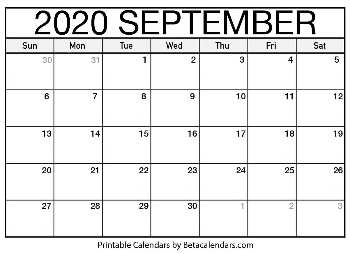 Printable September 2020 Calendar - Beta Calendars with regard to Vertex Montly Calendar October 2020