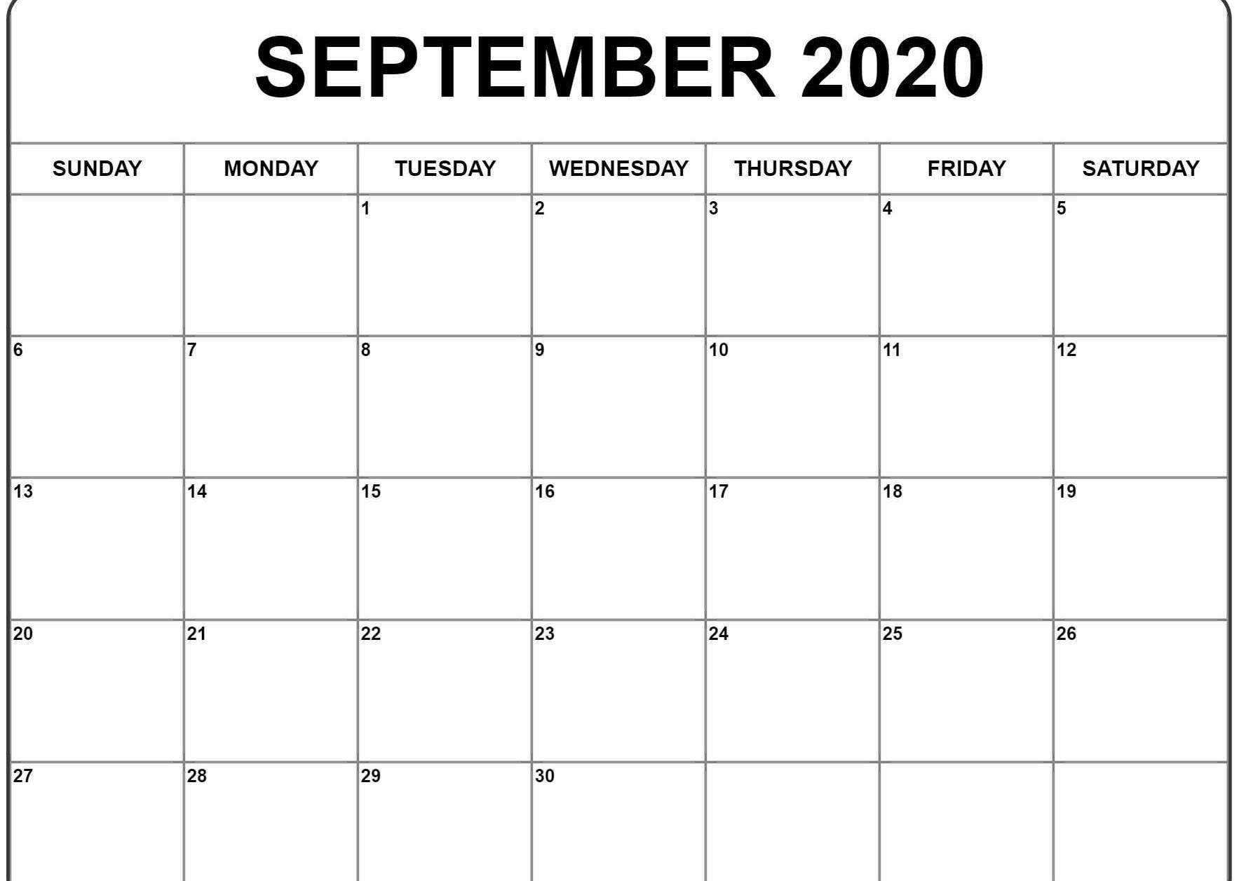 September 2020 Calendar | Calendar Template, Print Calendar for September 2020 Calendar Printable Template