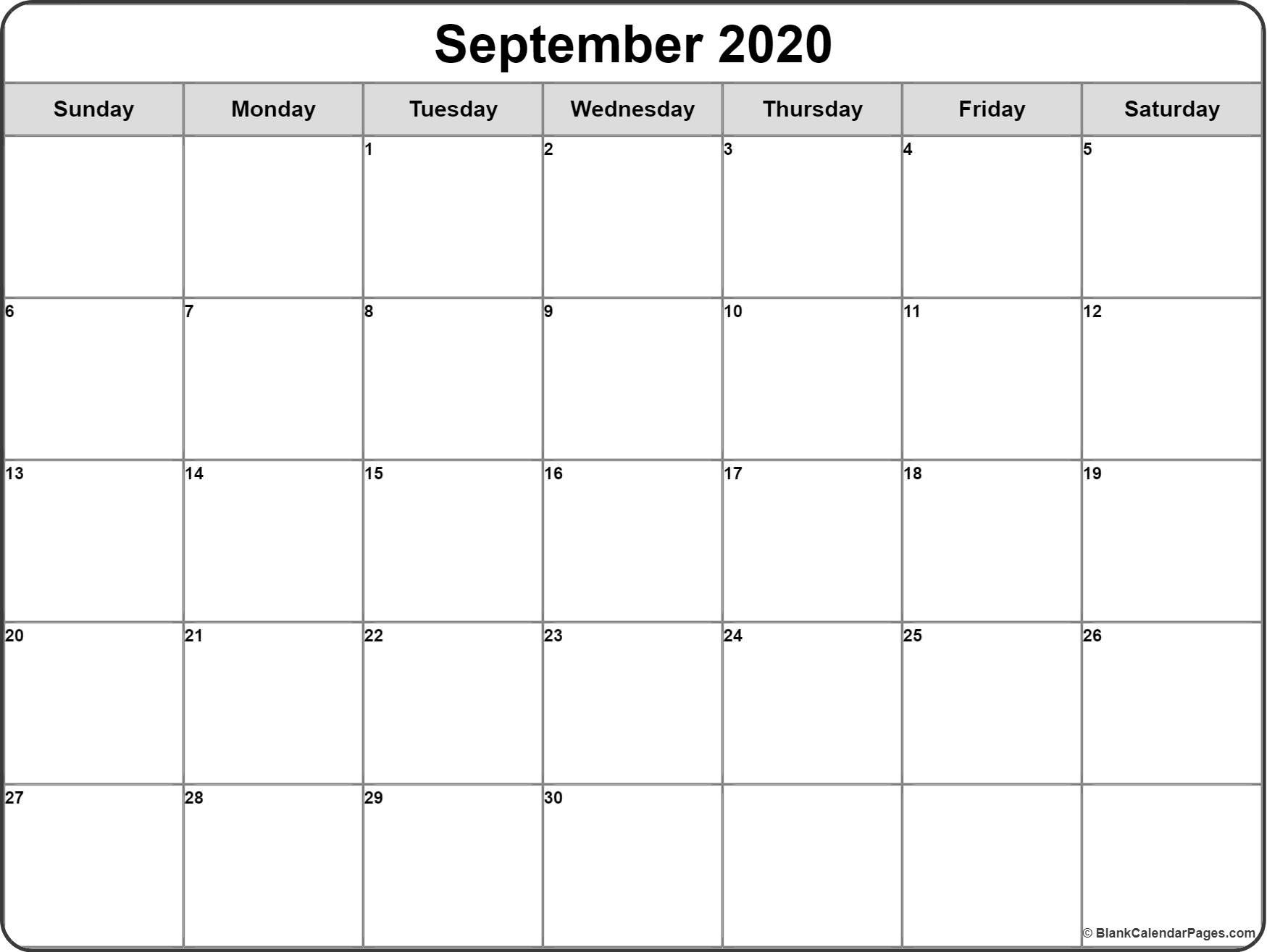 September 2020 Calendar | Free Printable Monthly Calendars inside Blank Monthly Calendar Template To Fill In