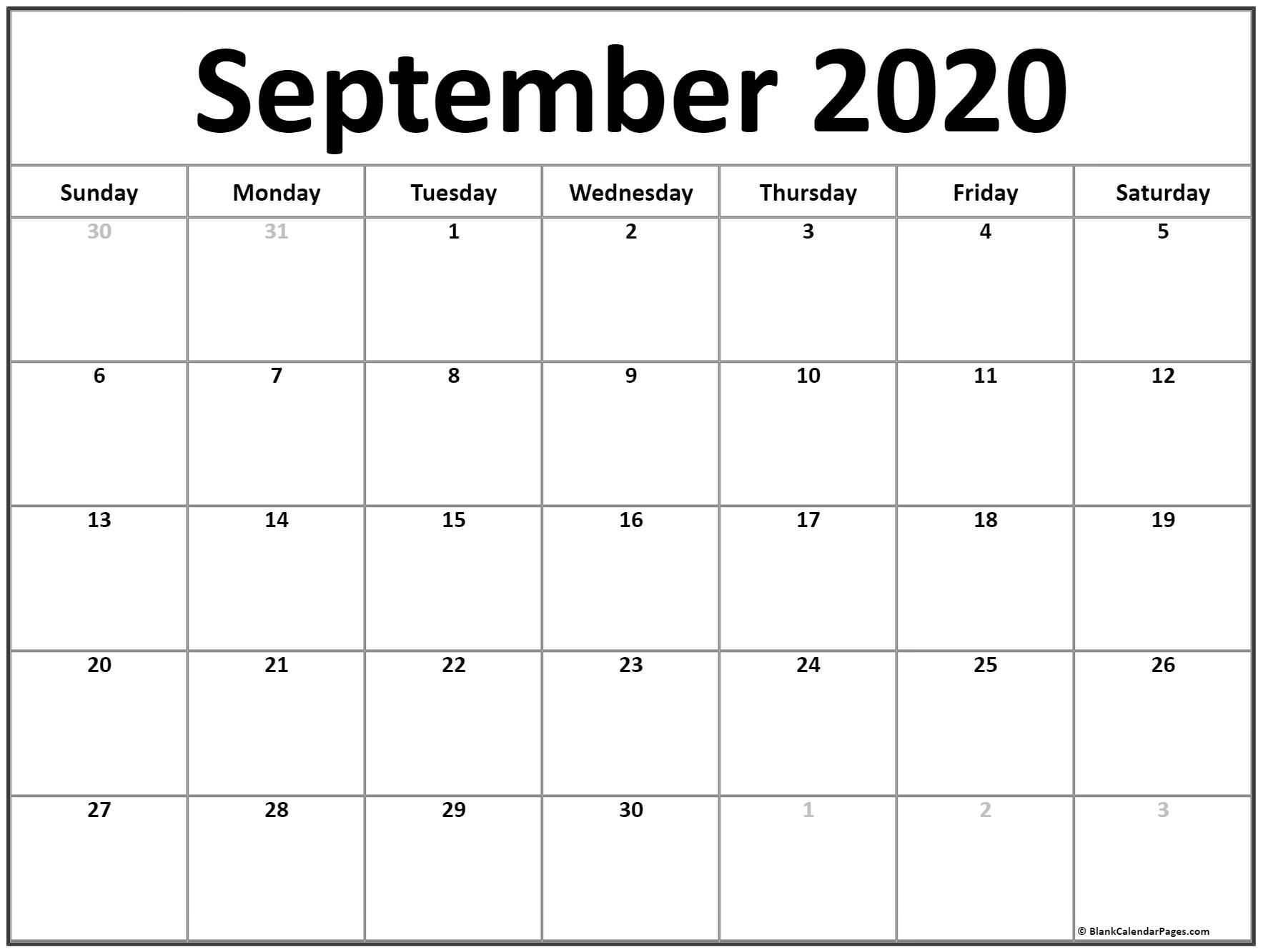 September 2020 Calendar | Free Printable Monthly Calendars pertaining to September Fill In Calendar 2020