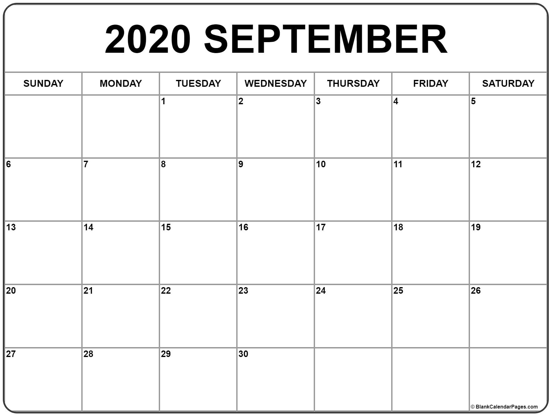 September 2020 Calendar | Free Printable Monthly Calendars with regard to September Fill In Calendar 2020