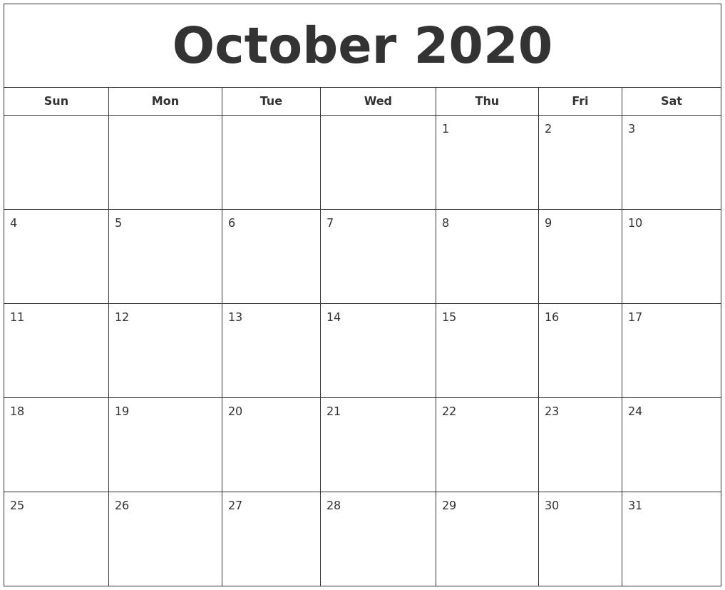 September 2020 Calendar, October 2020 Printable Calendar with regard to September Fill In Calendar 2020