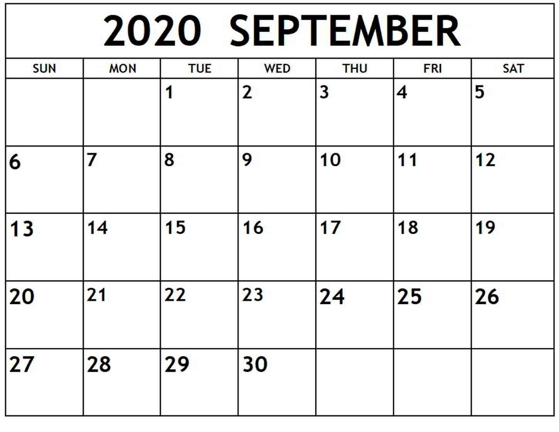 September 2020 Calendar Printable Free - Calendar Templates inside Free Editable 2020 Calendars