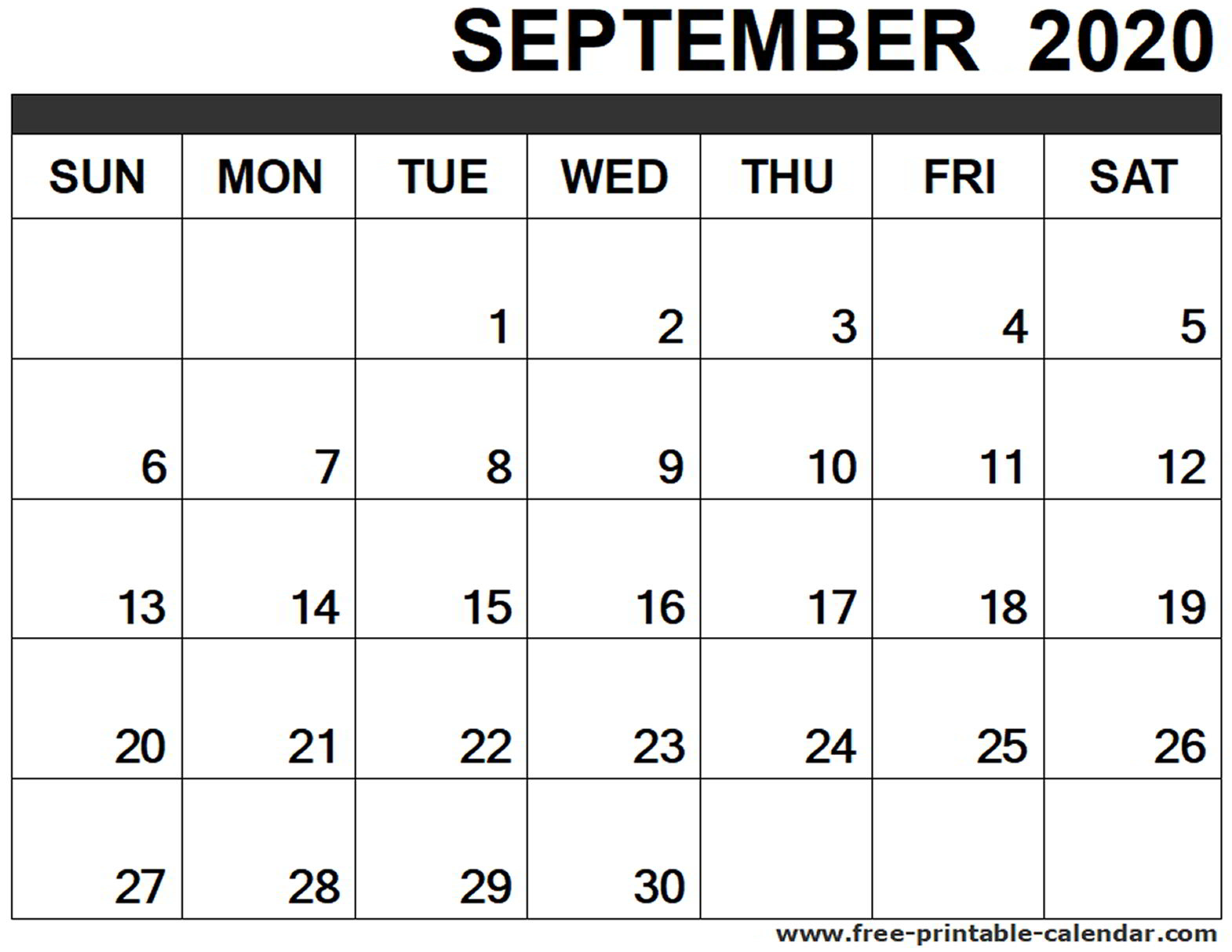 September 2020 Calendar Printable - Free-Printable-Calendar for 2020 Calendar To Fill In