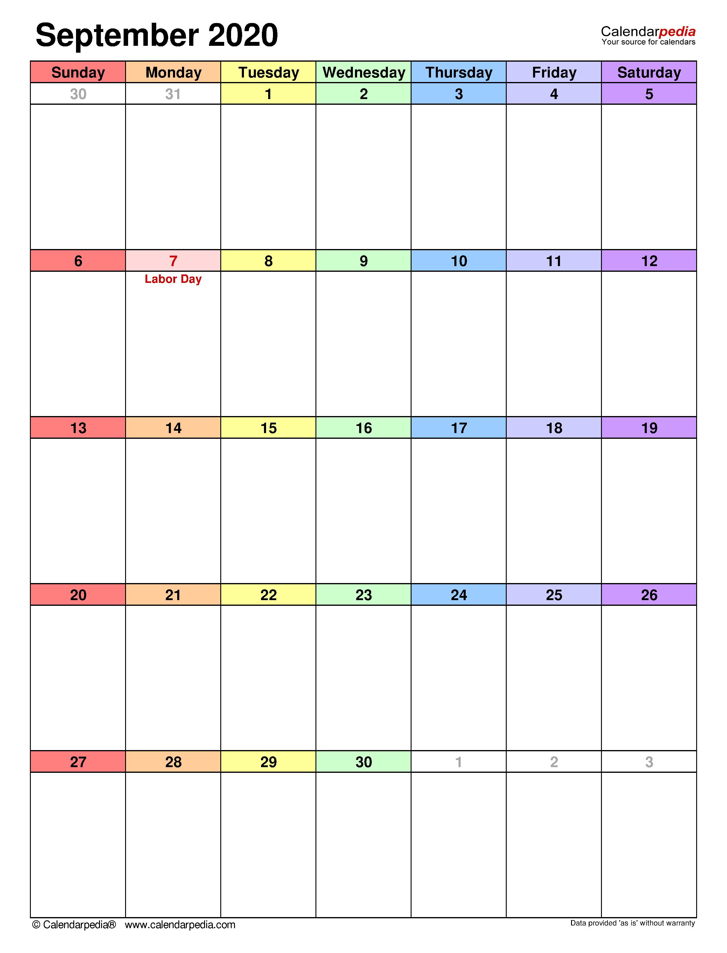 September 2020 - Calendar Templates For Word, Excel And Pdf regarding September Fill In Calendar 2020