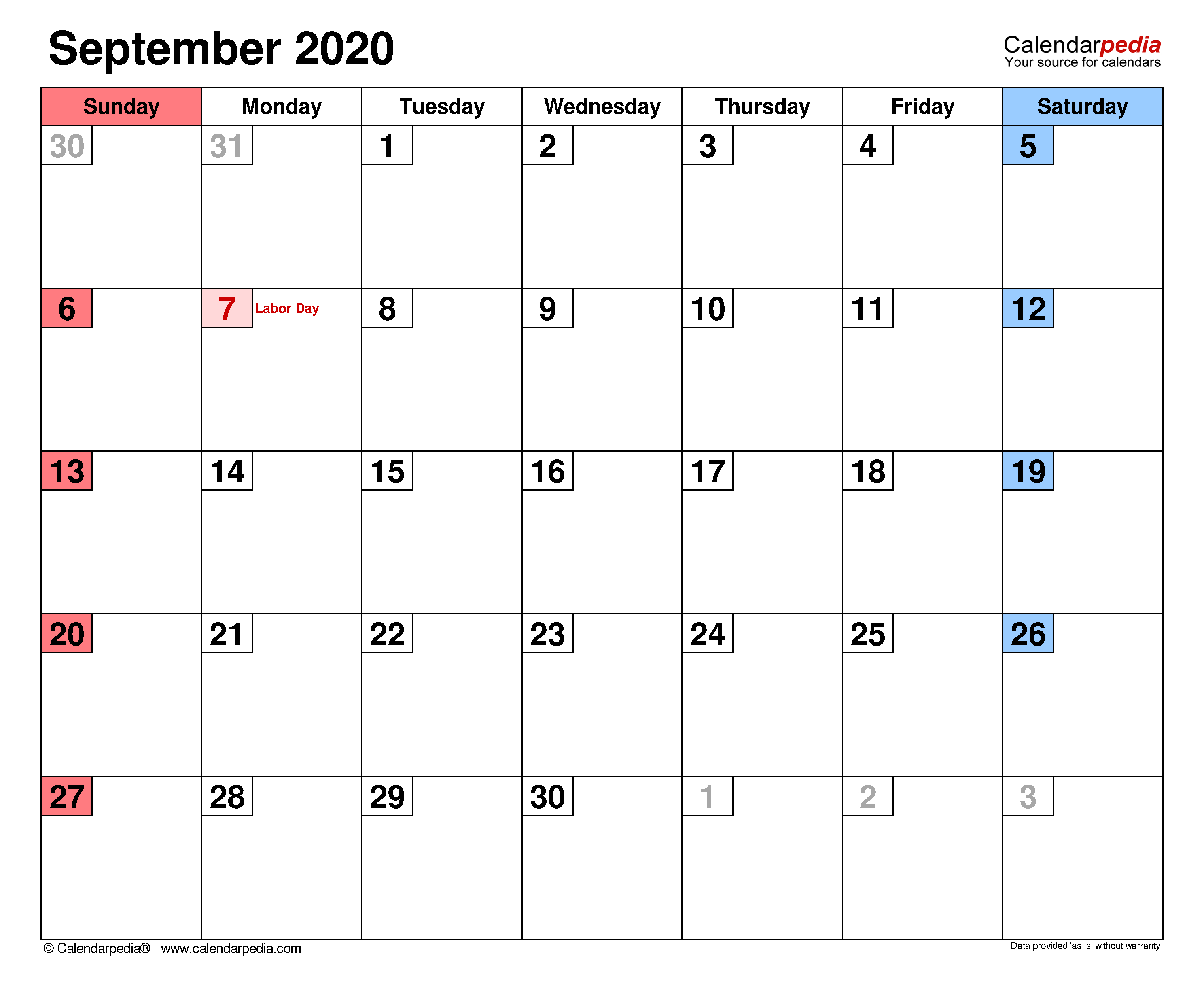 September 2020 - Calendar Templates For Word, Excel And Pdf with September Fill In Calendar 2020