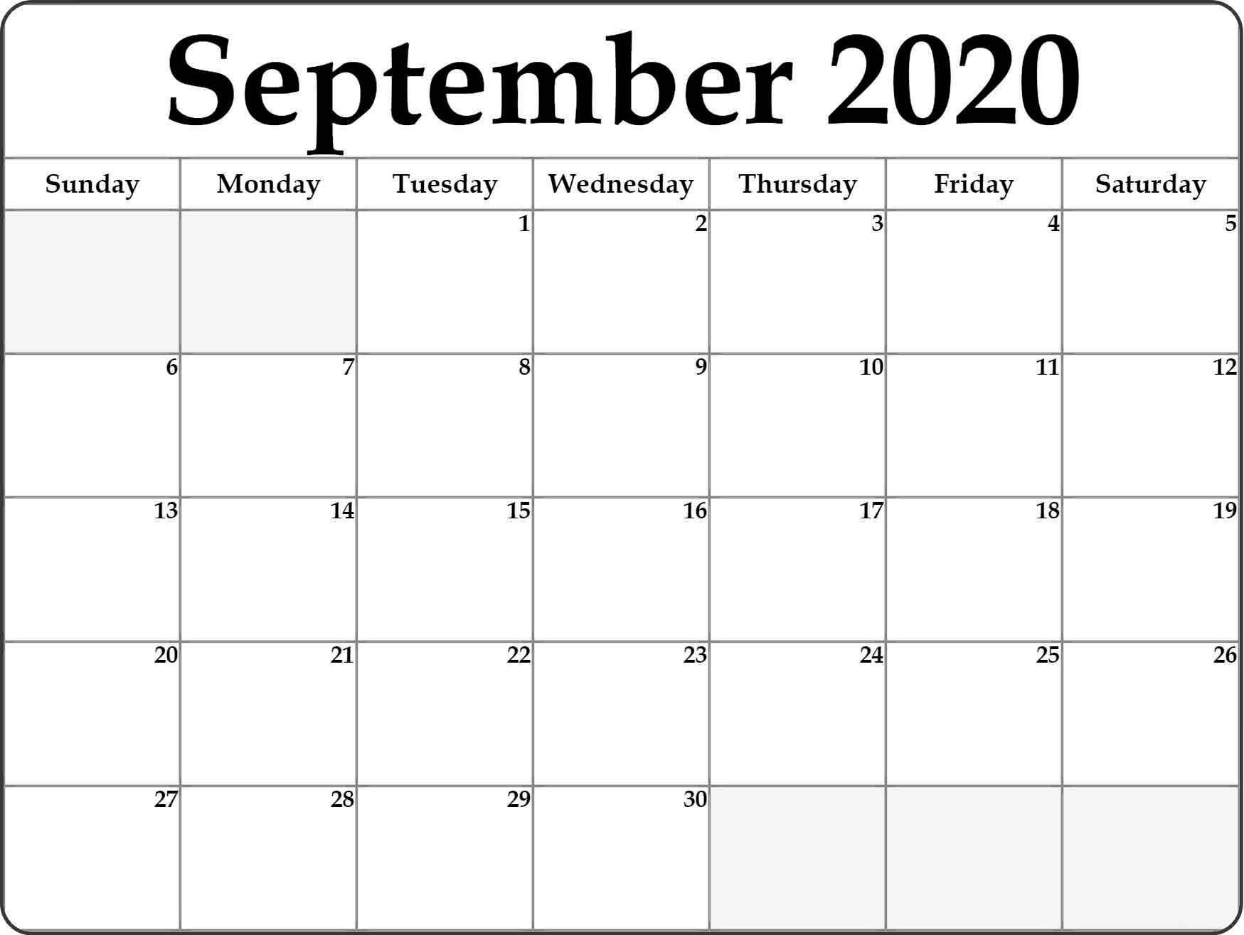September 2020 Monthly Calendar - Calendar Word intended for September Fill In Calendar 2020