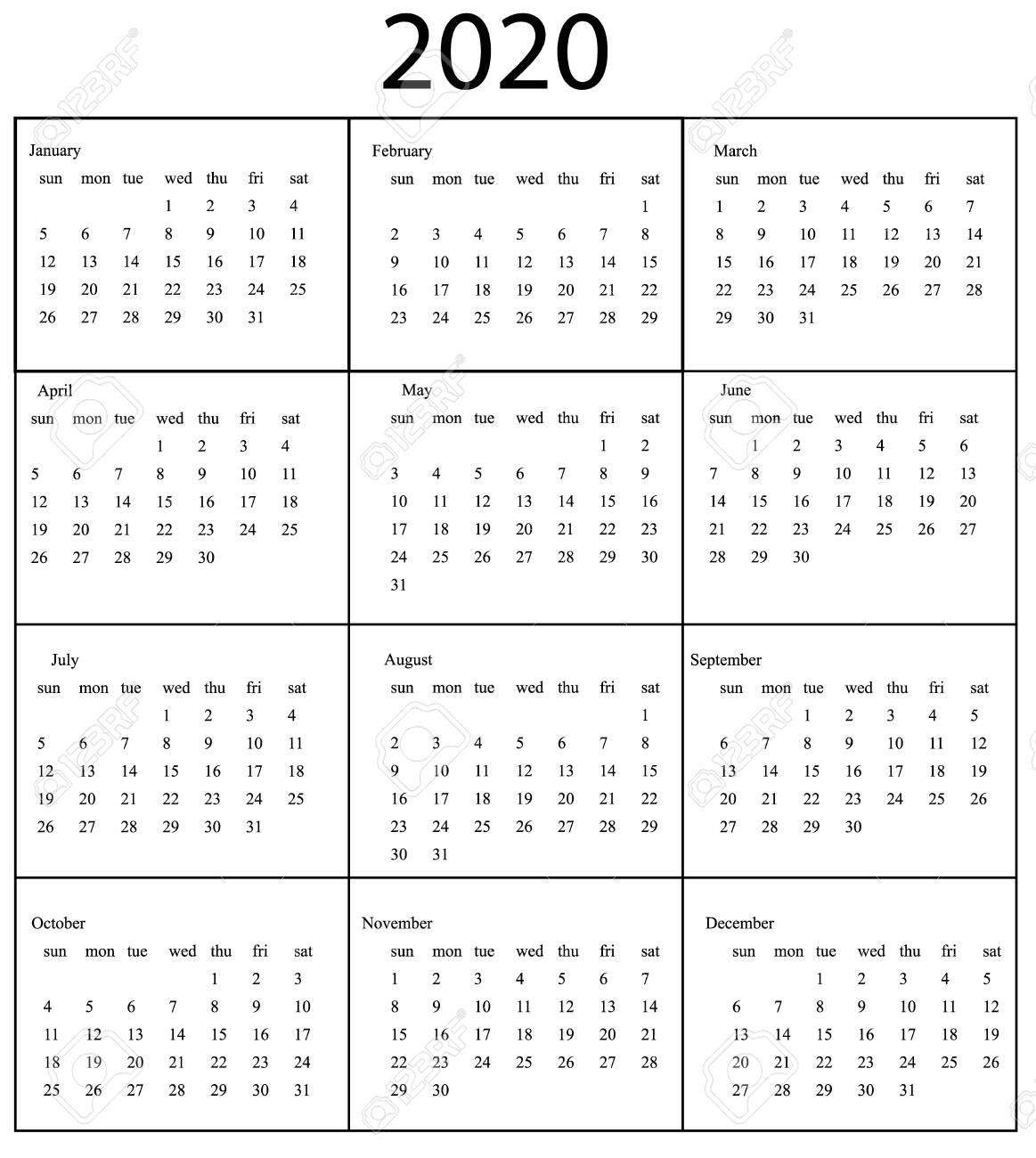 Stock Photo intended for Sunday To Saturday Calendar 2020 Printable